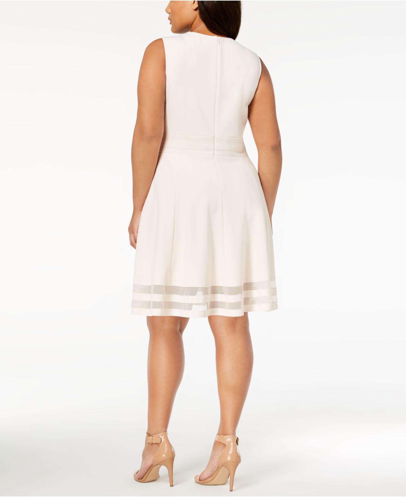 6896df88 Lyst - Calvin Klein Plus Size Illusion-trim Fit & Flare Dress in Natural