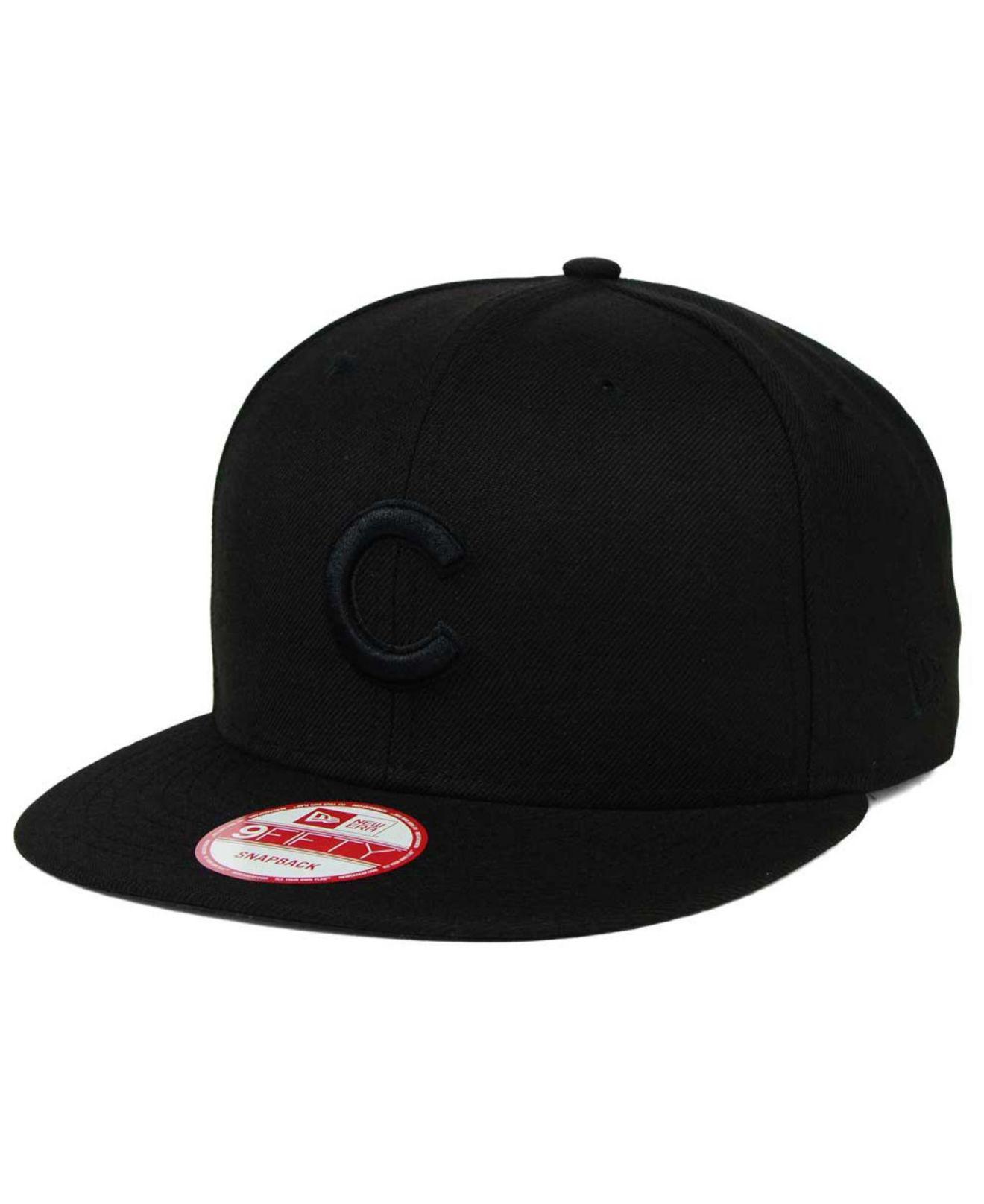 e3728e7059b Lyst - KTZ Chicago Cubs Black On Black 9fifty Snapback Cap in Black ...
