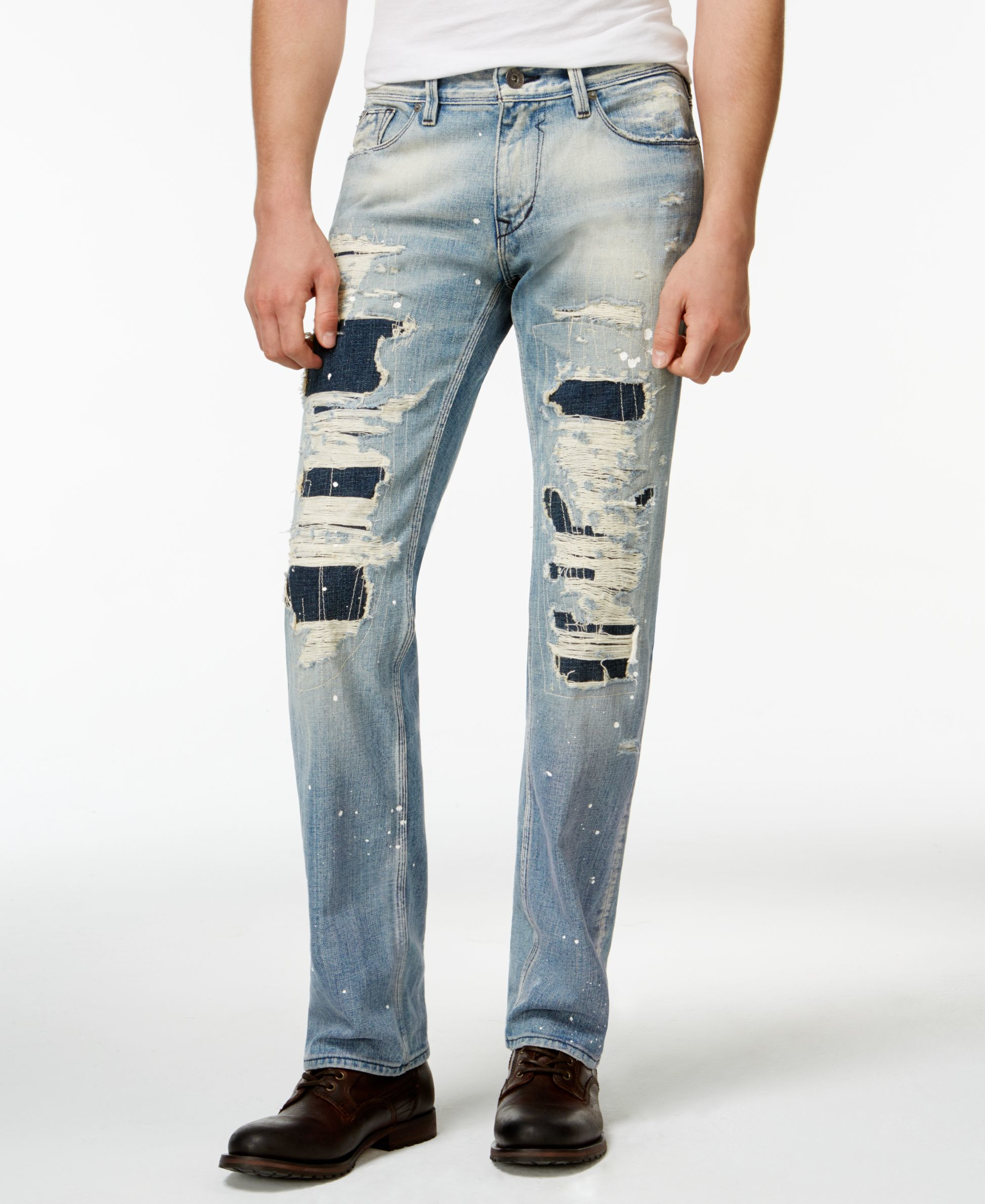 Guess Men S Straight Fit Destroyed Jeans In Blue For Men
