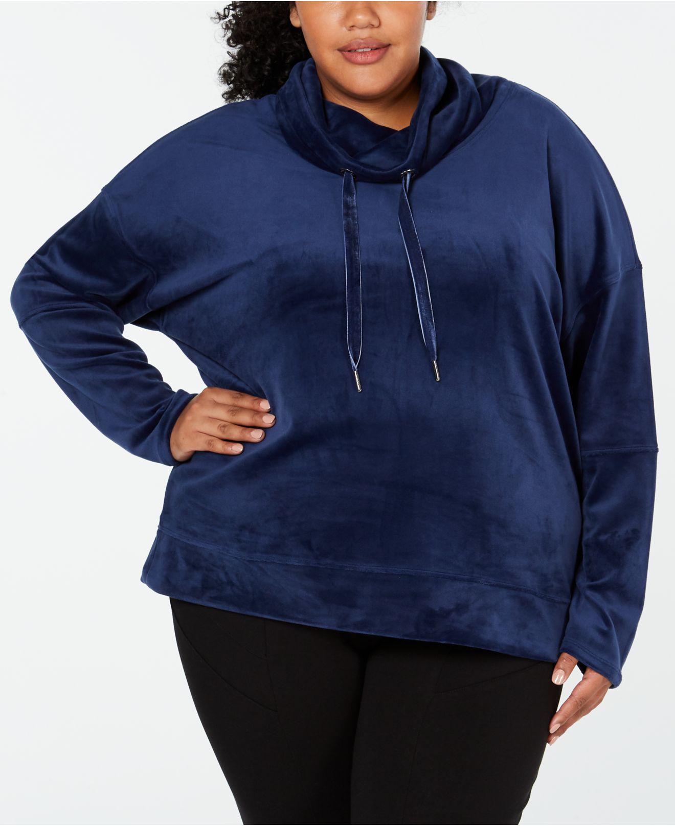0e02c147530 Lyst - Calvin Klein Performance Plus Size Velour Cowl-neck Top in Blue