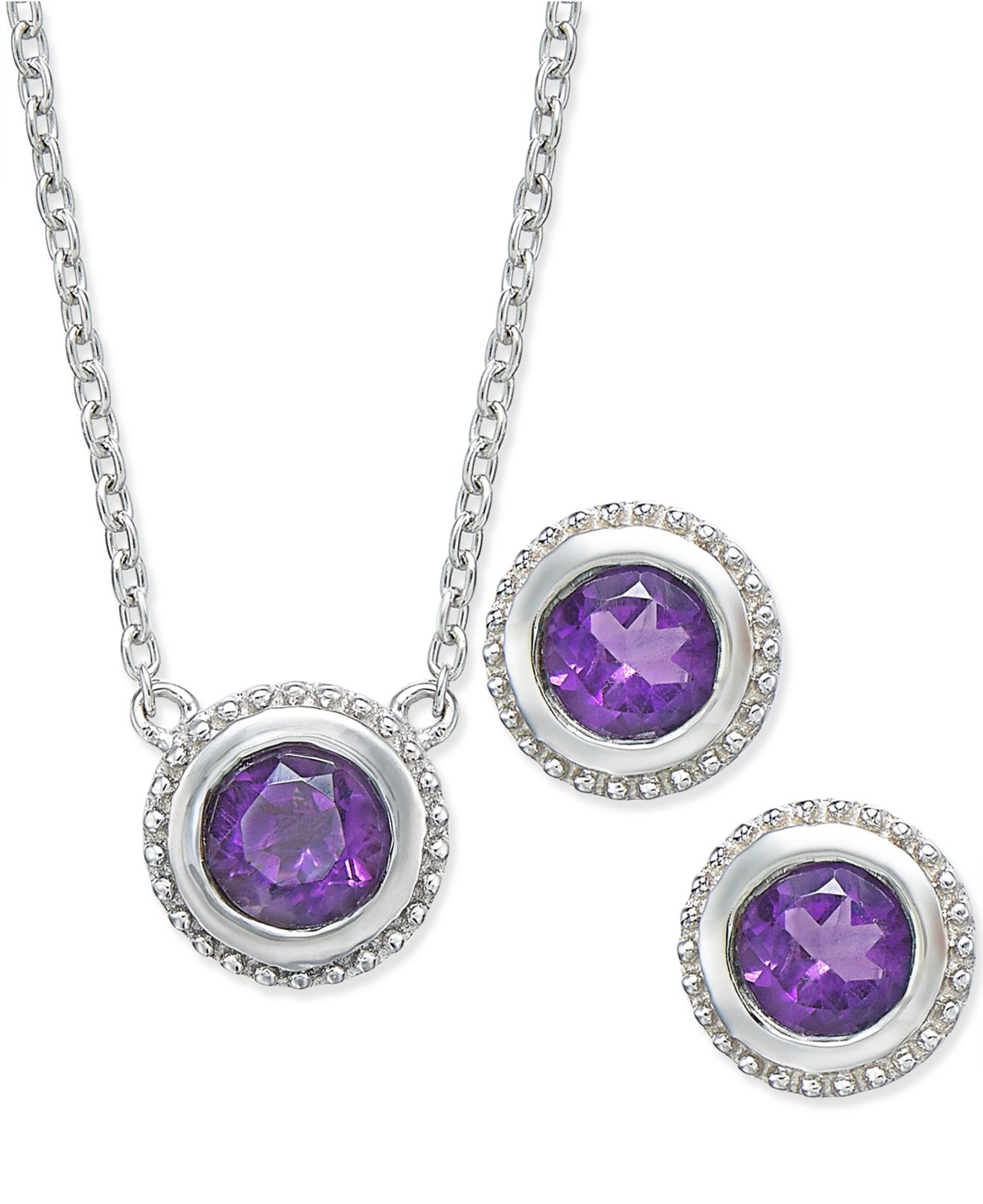 macy s amethyst earrings lyst macy s amethyst pendant necklace and earrings set 314