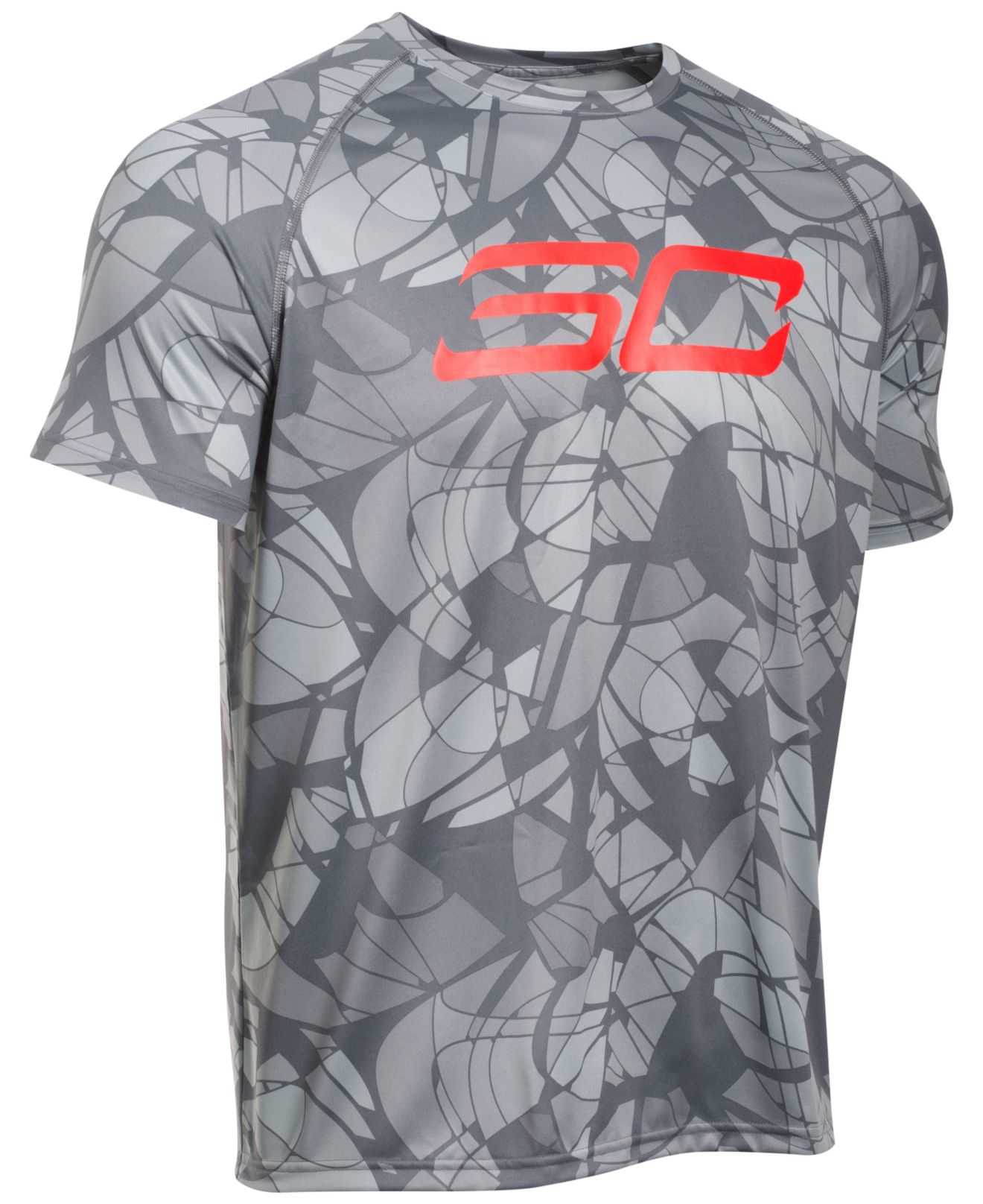 Under armour men 39 s ua tech printed t shirt in gray for men for Under armour printed t shirts