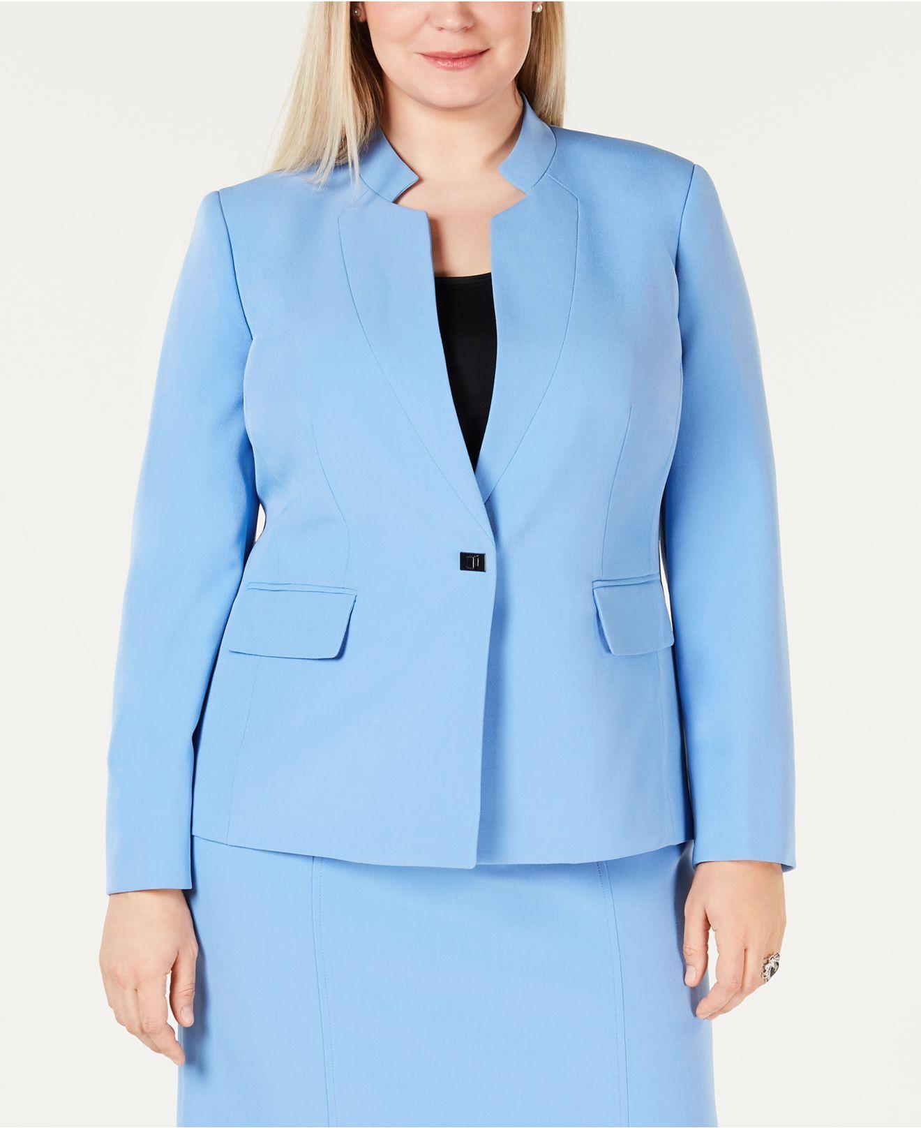 4002129083b Lyst - Kasper Plus Size Inverted-collar Jacket in Blue