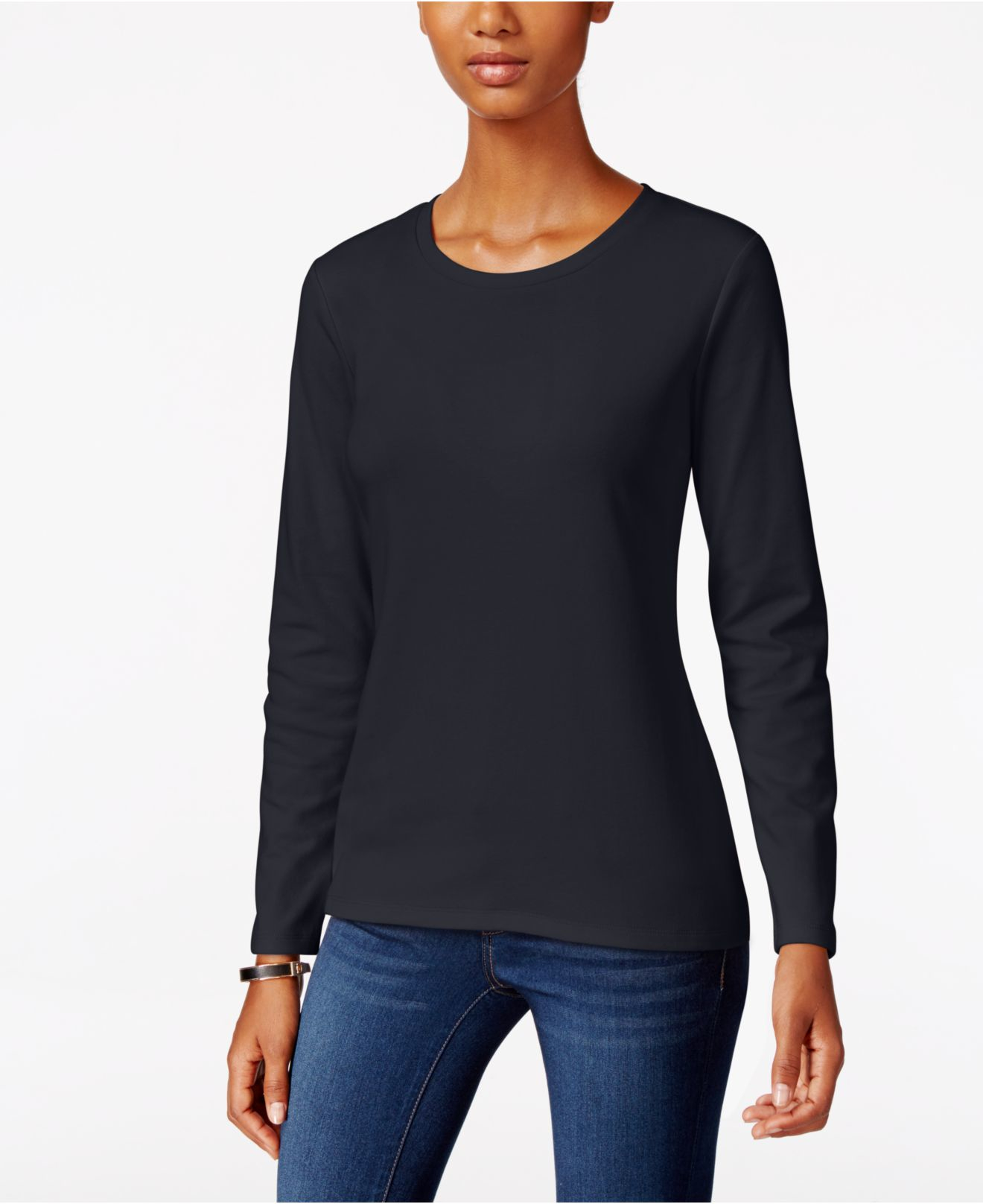 Lyst - Style & co. Long-sleeve Crew-neck T-shirt in Blue