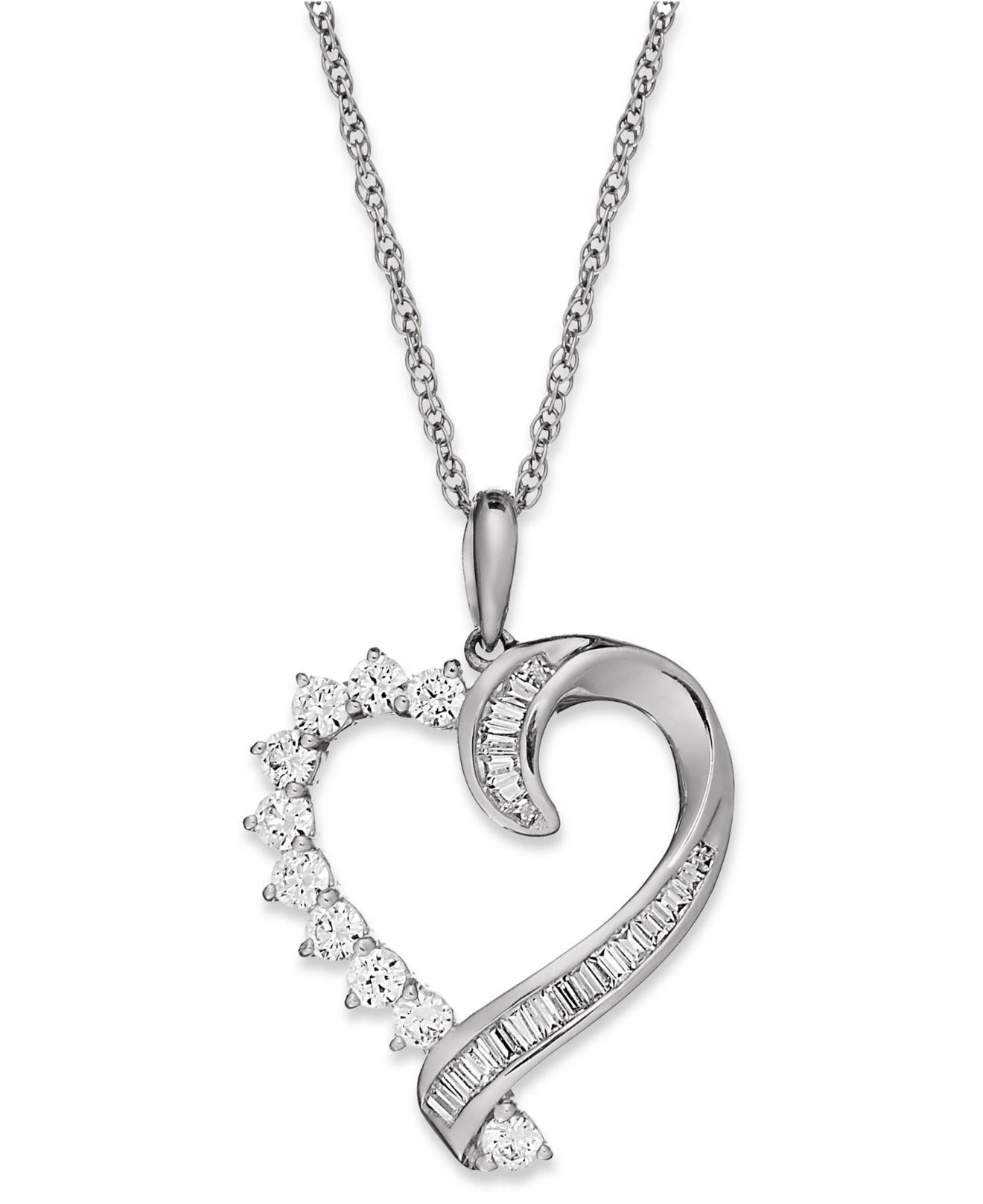 Lyst macys diamond baguette swirl heart pendant necklace in 10k macys diamond baguette swirl heart pendant necklace in 10k white gold 12 view fullscreen mozeypictures Gallery