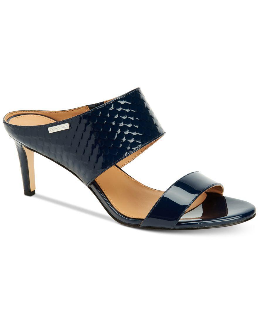 Calvin Klein Women S Cecily Wide Strap Sandals In Blue Lyst