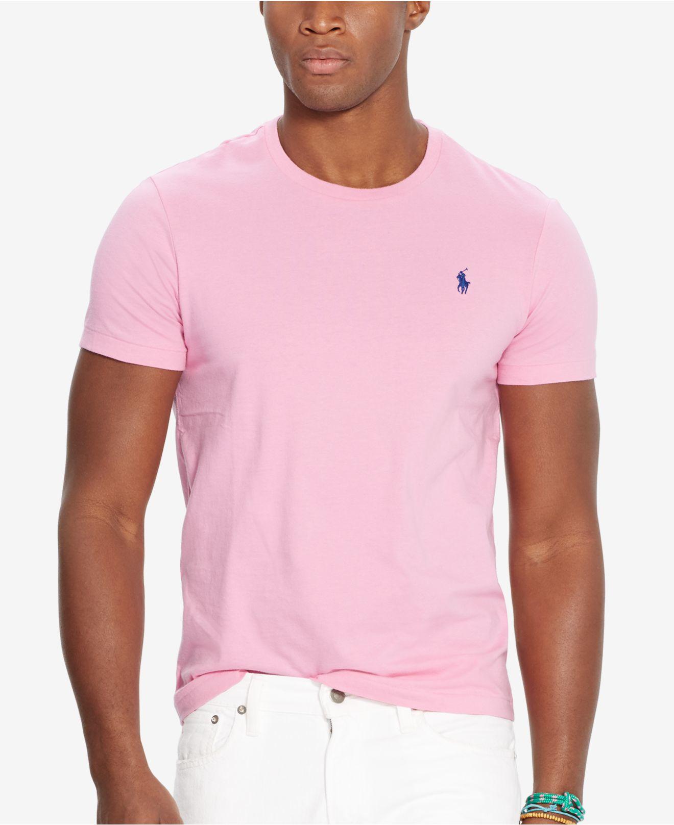 Polo ralph lauren custom fit crew neck t shirt in pink for for Polo custom fit t shirts