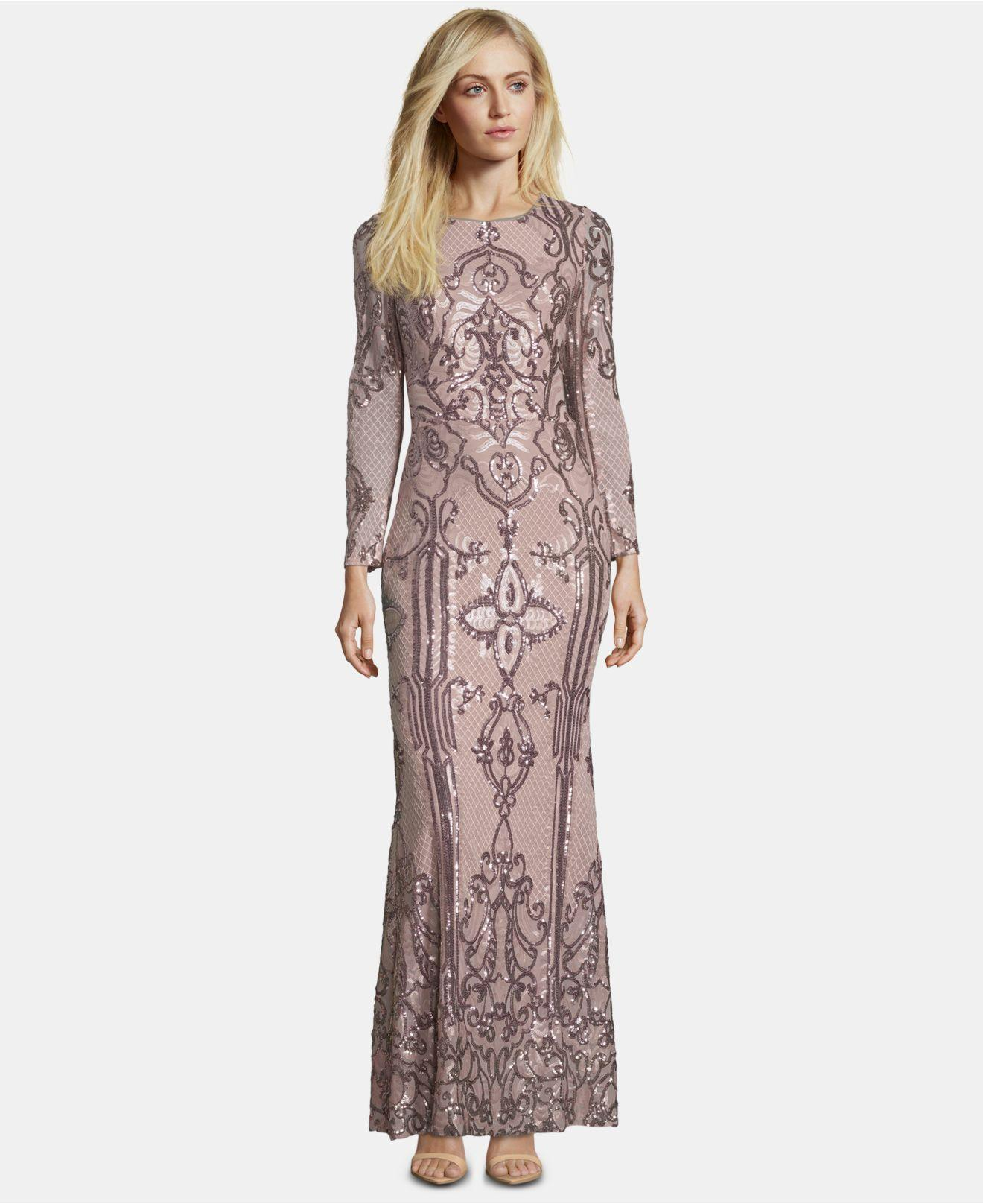 9f877efb7b8 Lyst - Betsy   Adam Petite Placed Sequin Gown in Pink