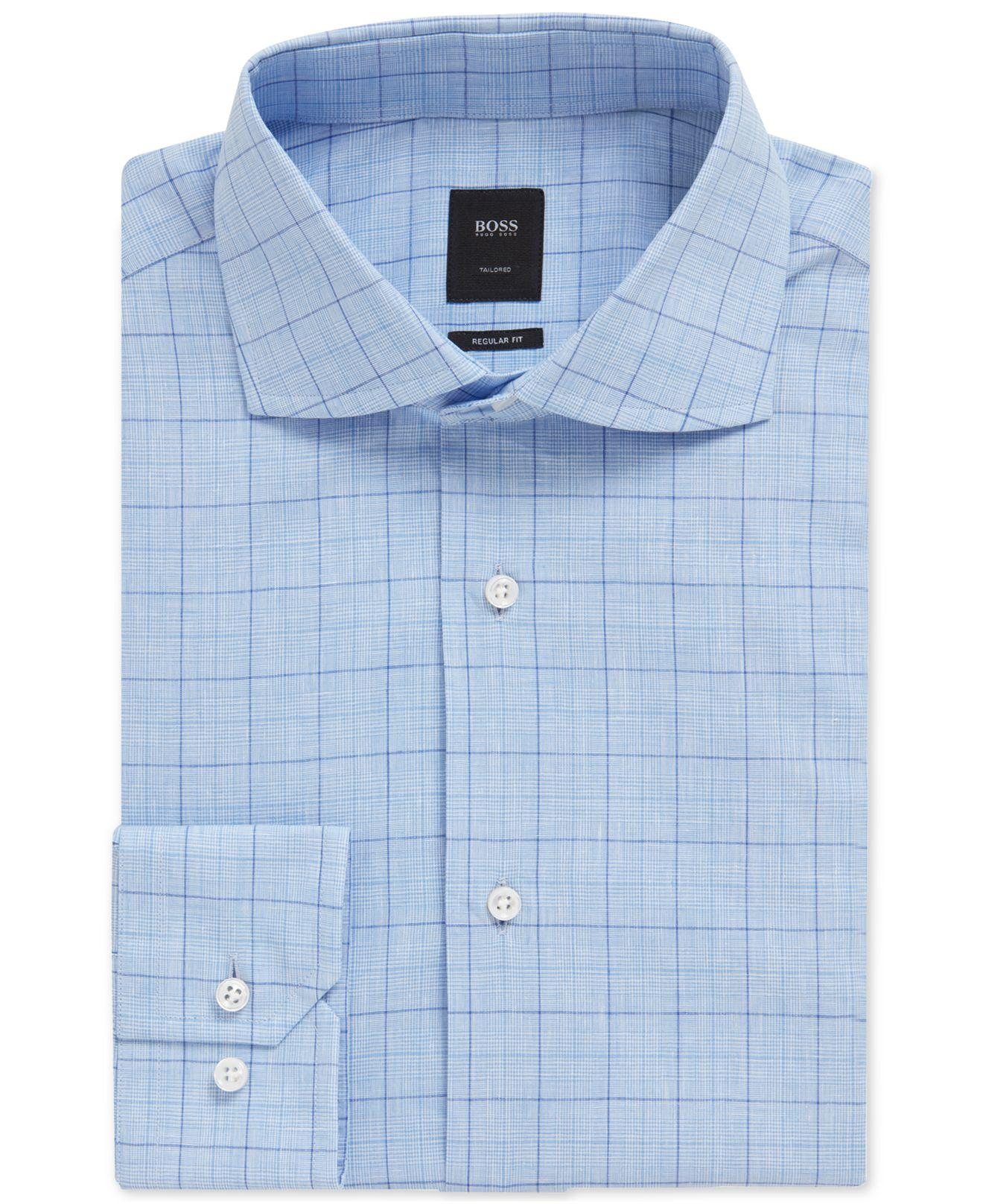 febe1578 Lyst - BOSS Regular/classic Fit Checked Shirt in Blue for Men