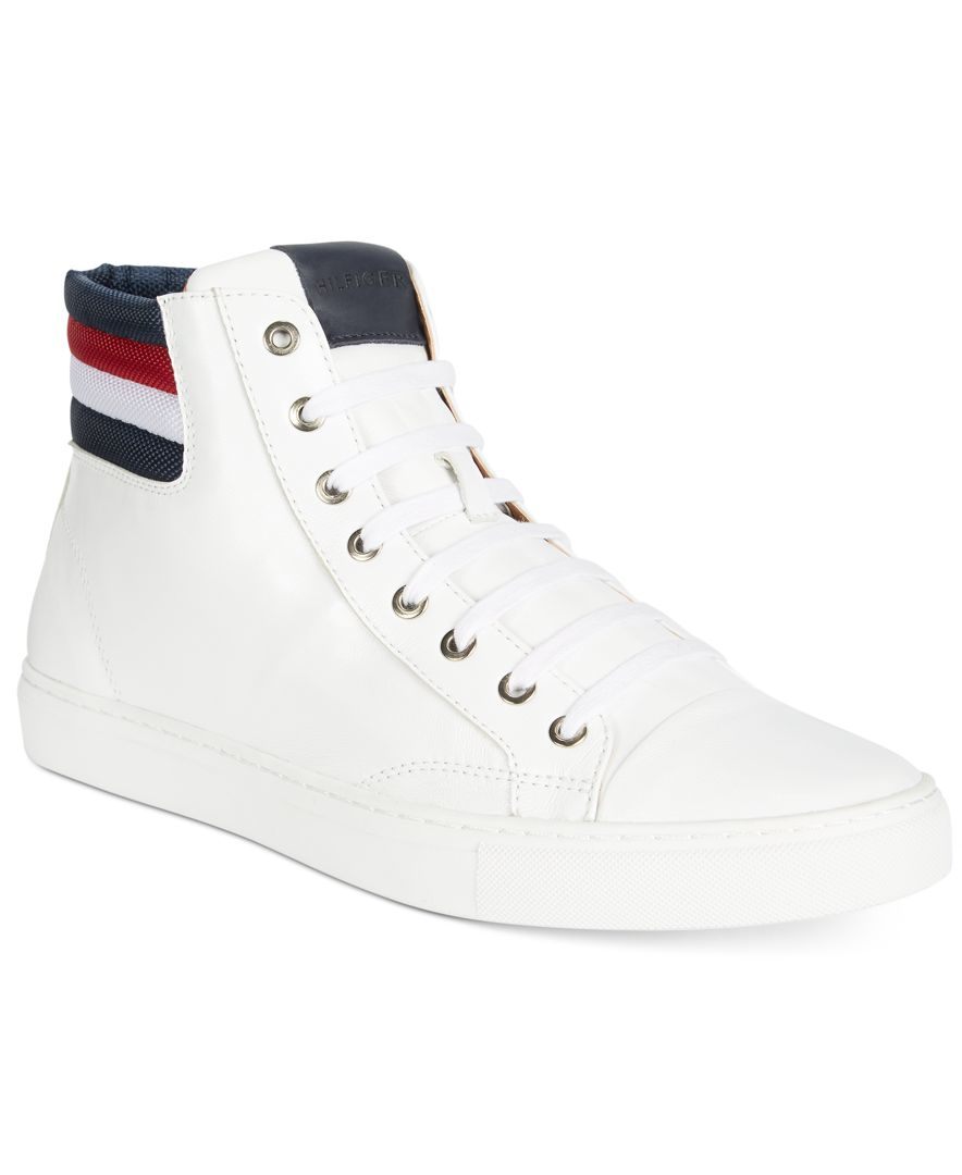 874f6ab569ee15 Lyst - Tommy Hilfiger Men s Mill Leather Hi-tops in White for Men