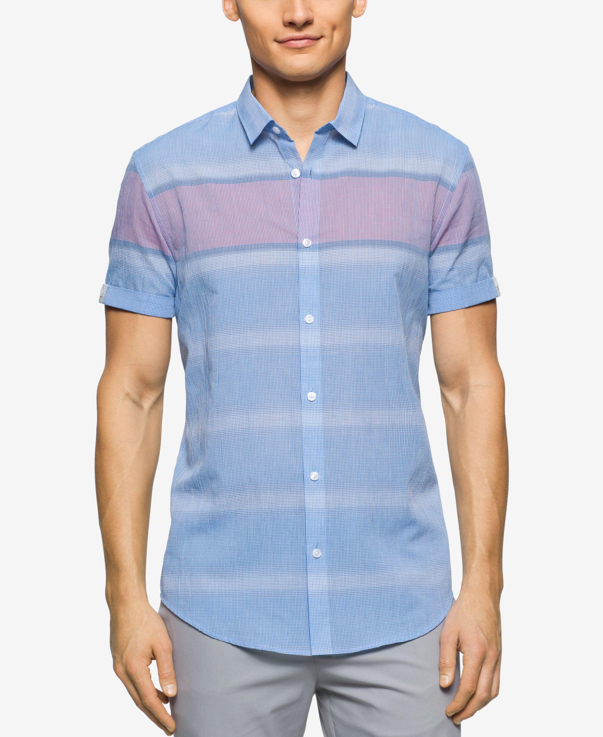 Calvin klein men 39 s short sleeve horizontal striped shirt for Horizontal striped dress shirts men