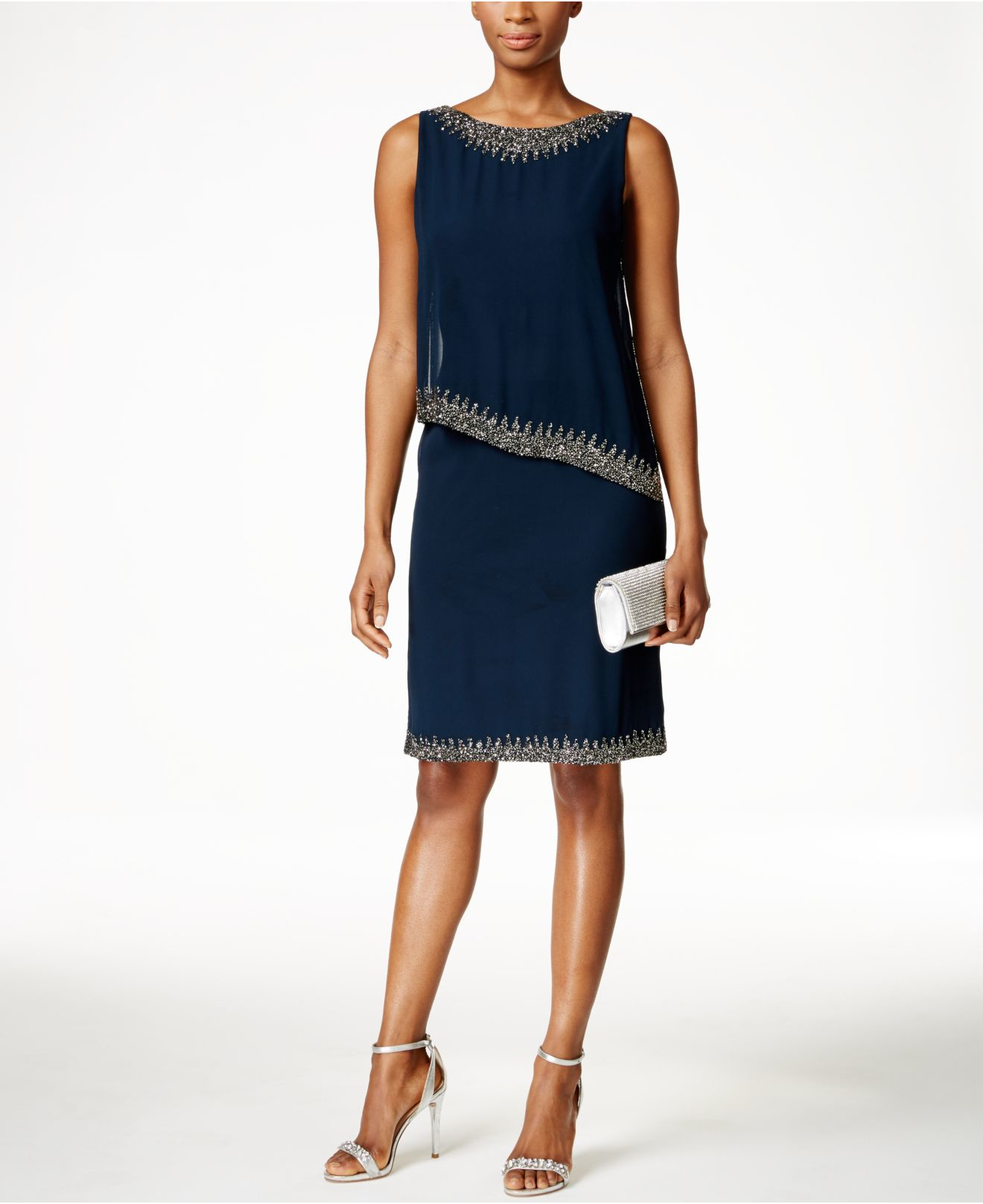 Macys Navy Blue Dresses: J Kara Beaded Capelet Dress In Blue