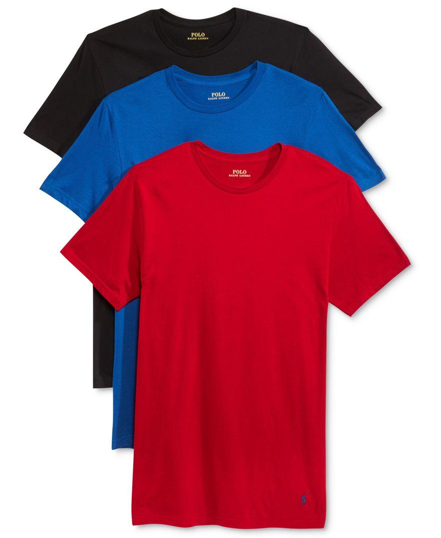 Polo ralph lauren crew neck undershirt 3 pack in blue for for Polo shirt with undershirt
