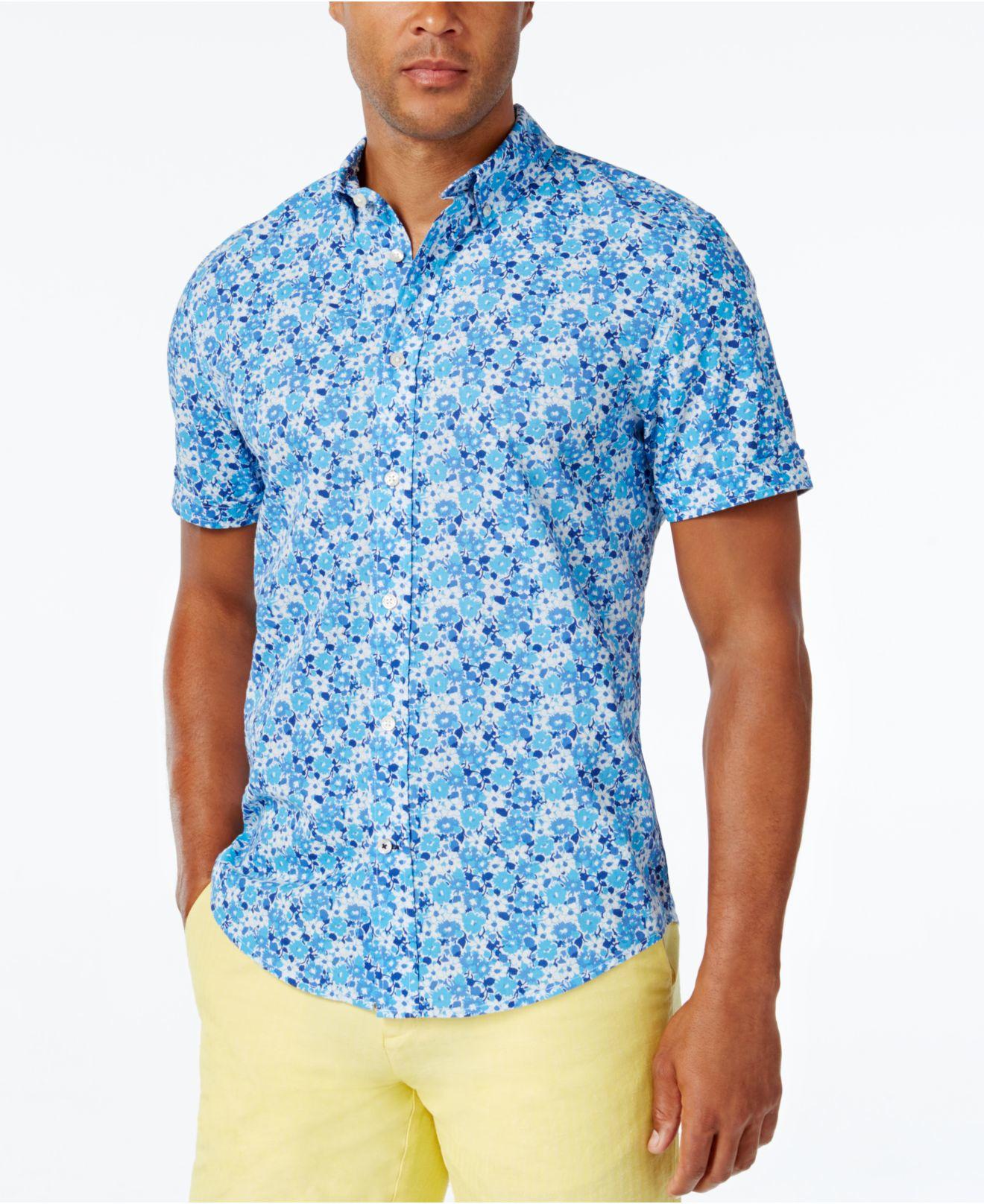 Tommy hilfiger men 39 s caste floral print short sleeve shirt for Mens short sleeve floral shirt