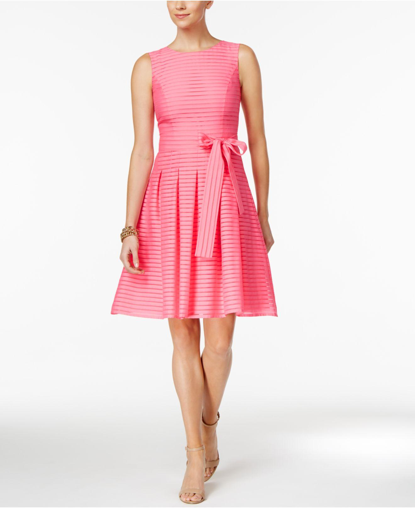 Tommy Hilfiger Illusion Striped Pleated Dress In Pink Lyst