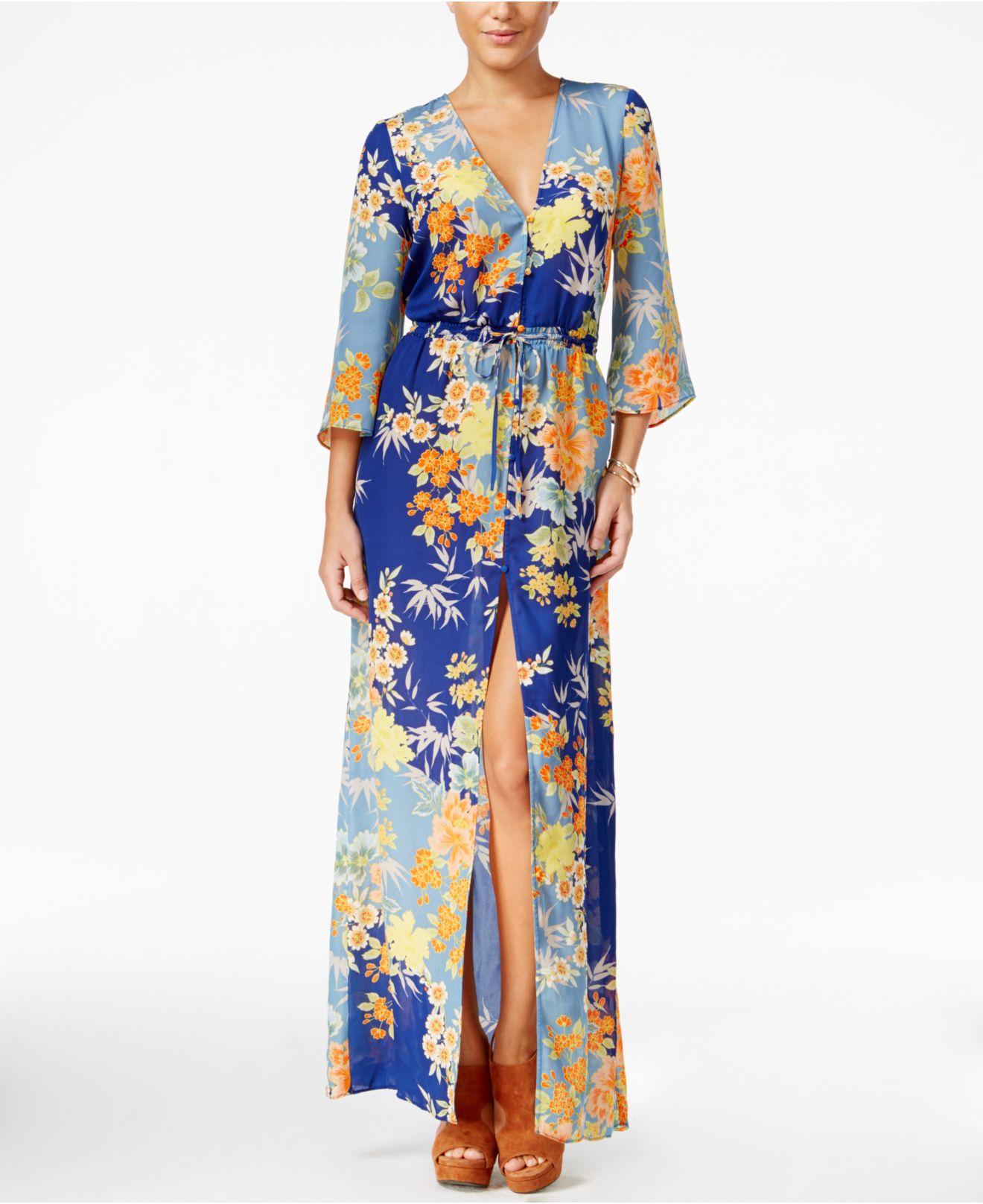 86fefd61c35d Guess Constanze Printed Bell-sleeve Maxi Dress - Lyst