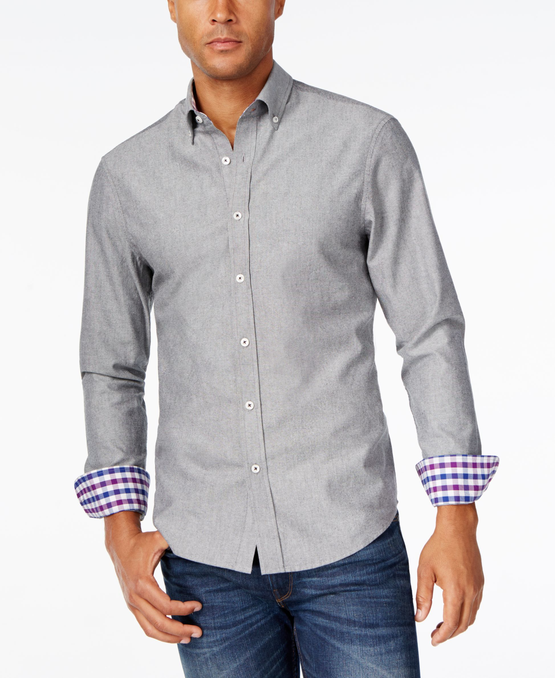 Park West Men 39 S Contrast Cuff Long Sleeve Shirt Only At