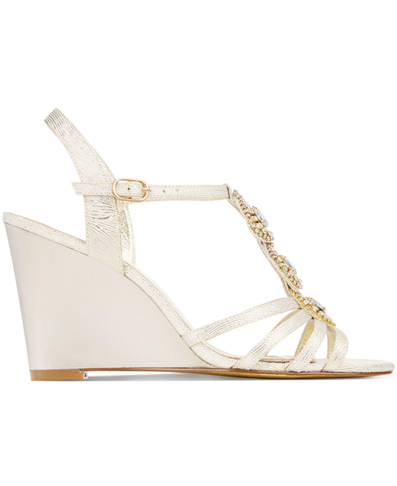 Adrianna Papell Kristen Evening Wedge Sandals In White Lyst