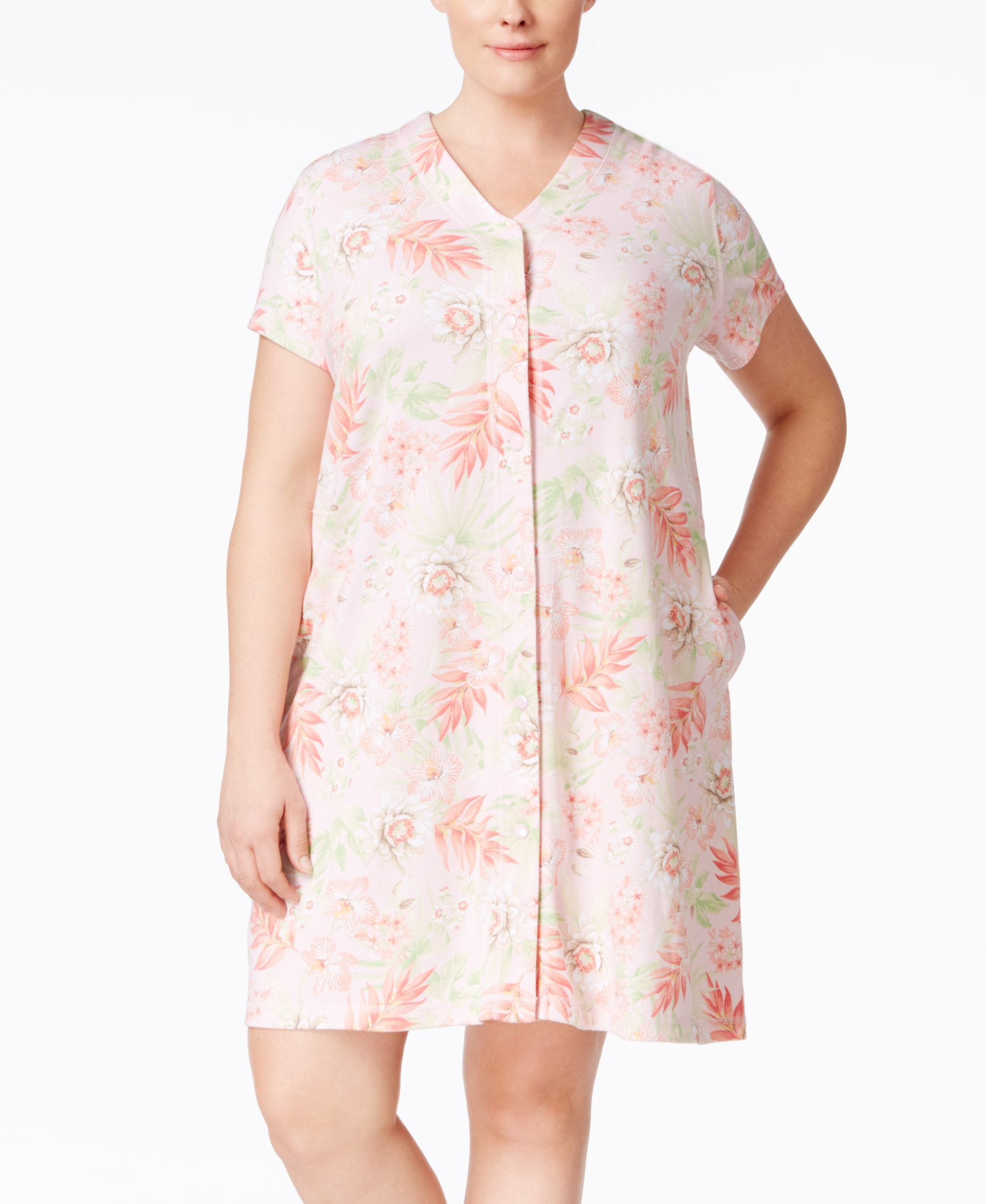 Miss Elaine Plus Size Short Robe In Pink Lyst