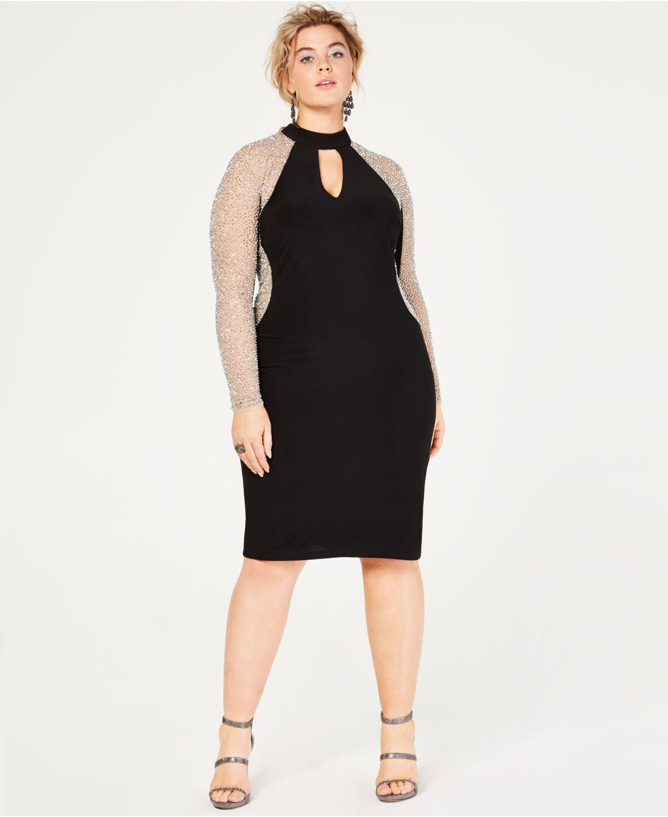 18d7be9f3d4 Lyst - Xscape Plus Size Caviar-beaded Illusion Dress in Black