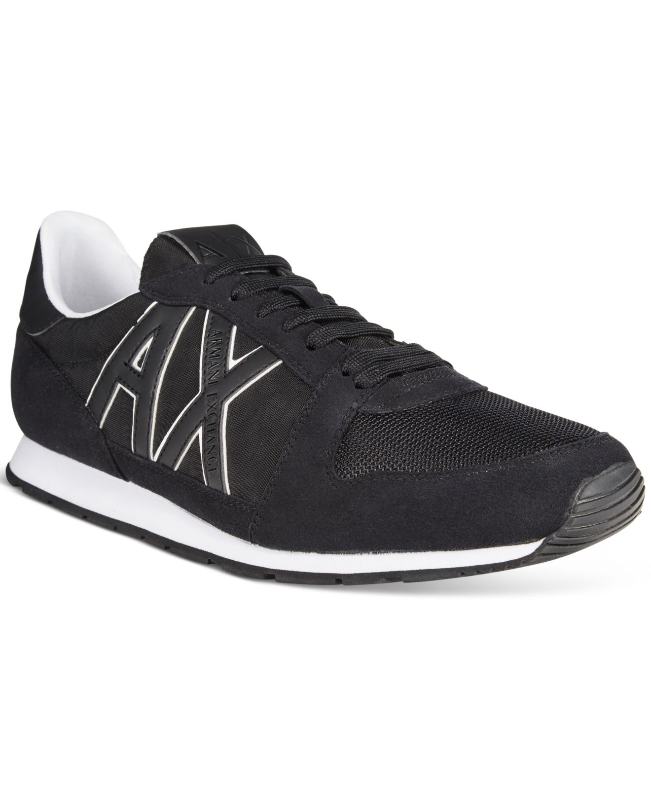 armani exchange s ax jogger sneakers in black for