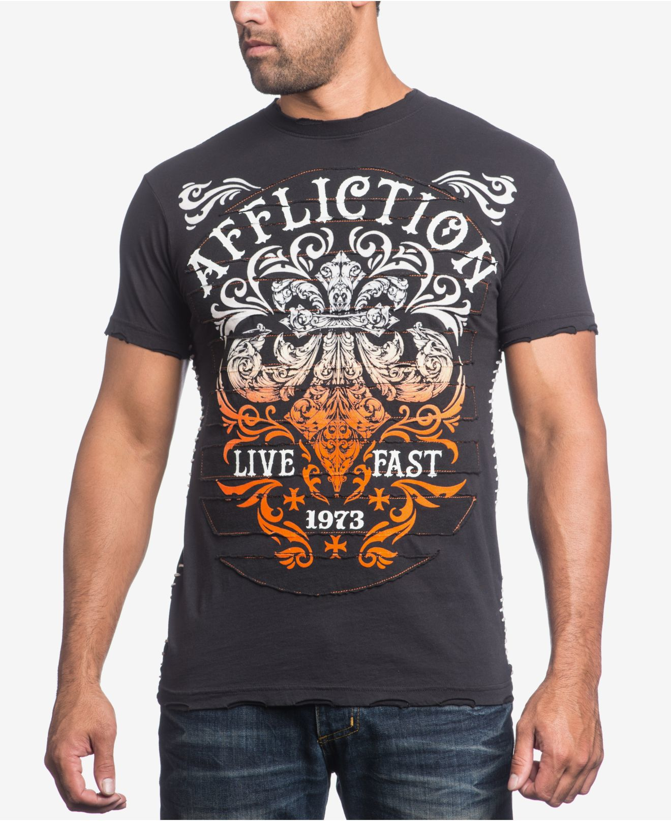 Affliction men 39 s truth consequence t shirt in black for for Mens affliction t shirts