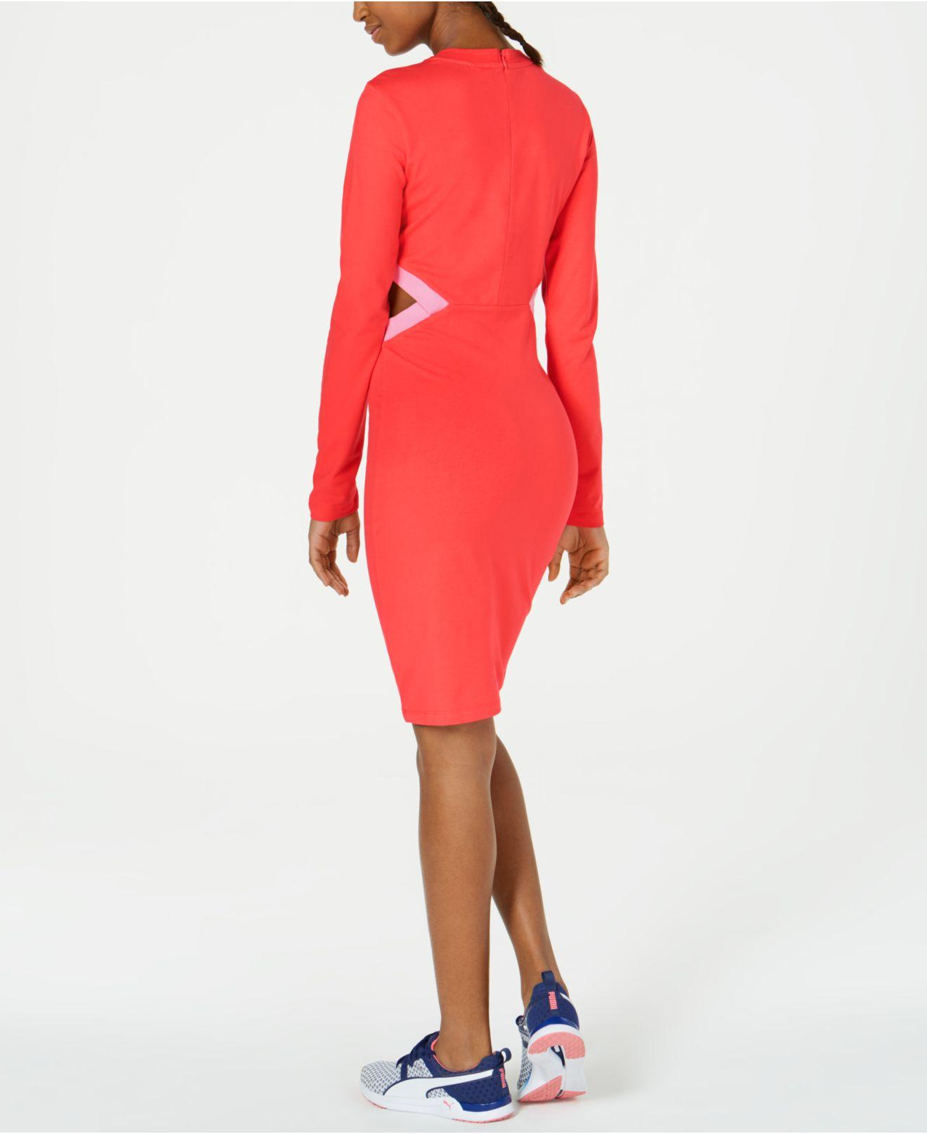 baa650646 Lyst - PUMA Classics Logo Bodycon Dress in Red