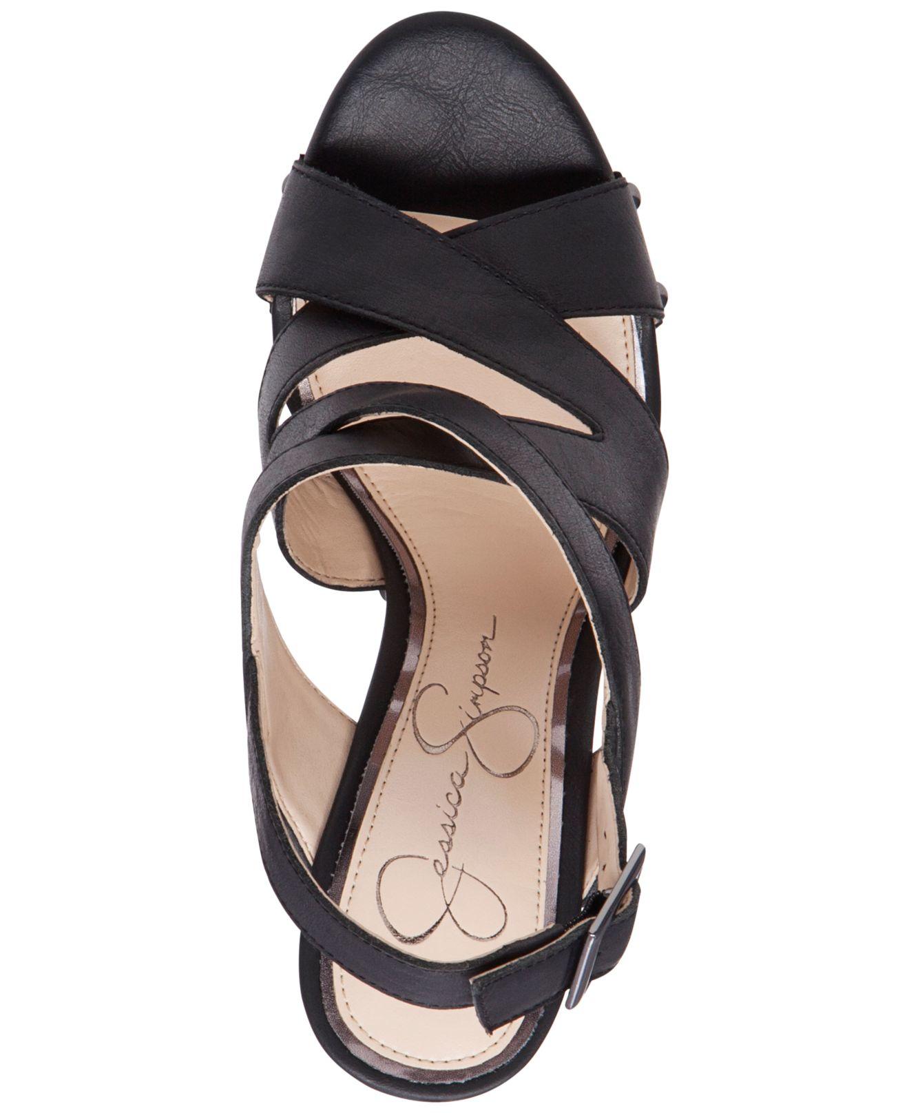Jessica Simpson Damelo Strappy Wood Heel Platform Sandals
