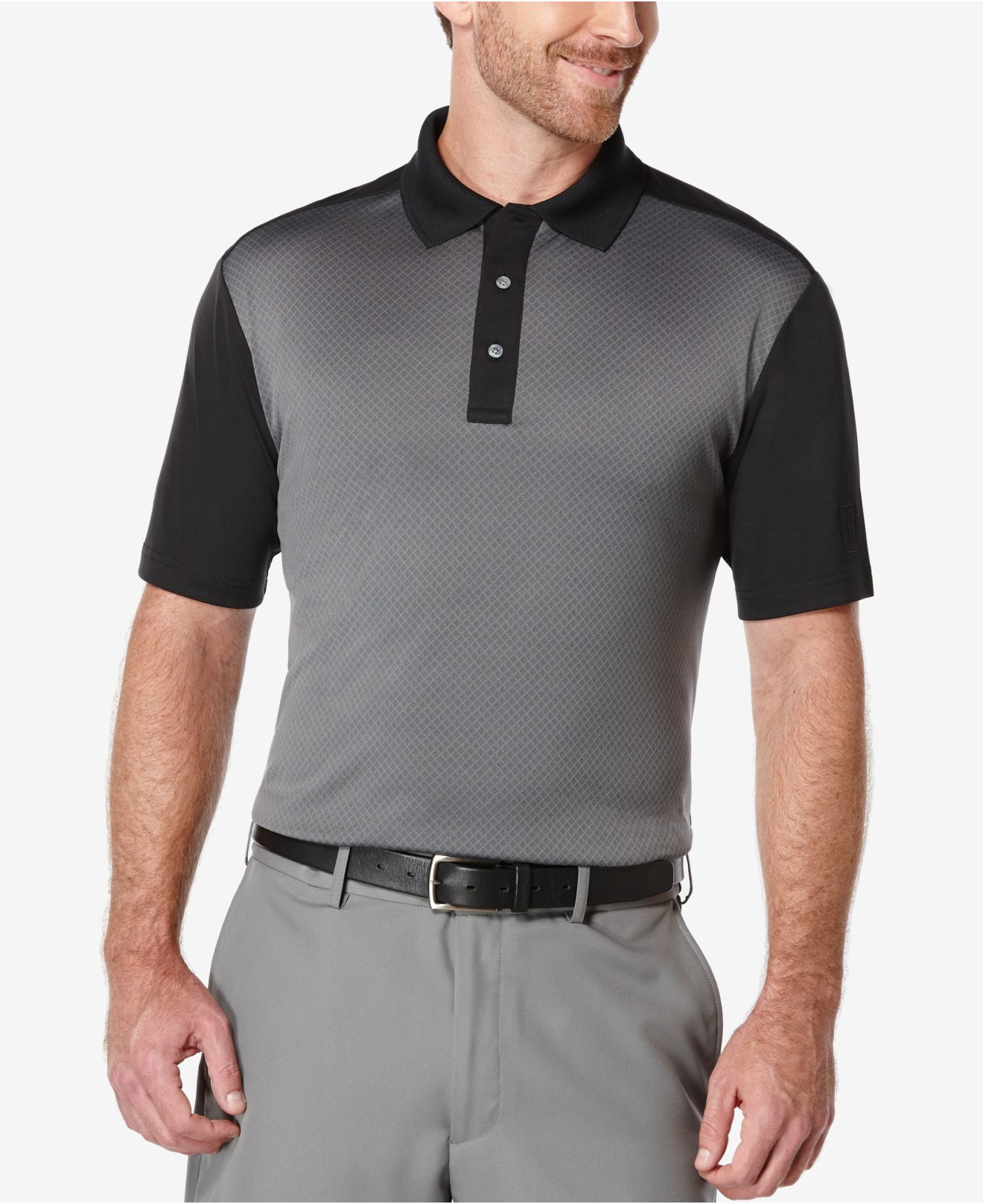 pga tour men u0026 39 s colorblocked golf polo in gray for men