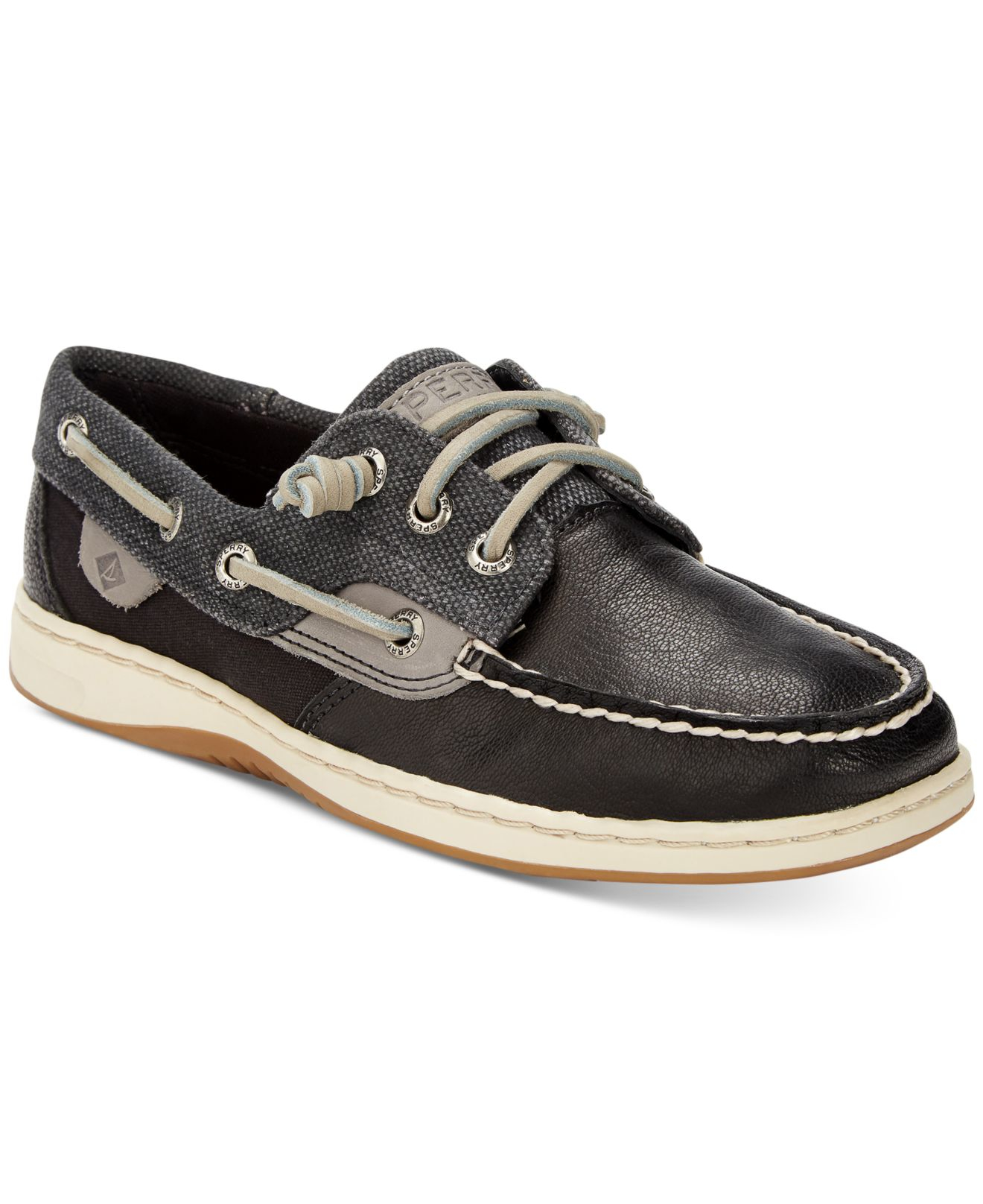 Sperry top sider ivy fish boat shoes in black for men lyst for Best boat shoes for fishing