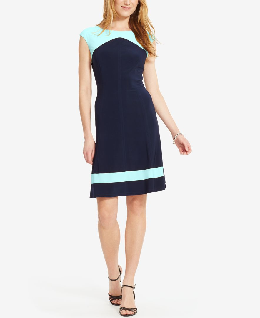 Lyst American Living Two Tone Cap Sleeve Dress In Blue