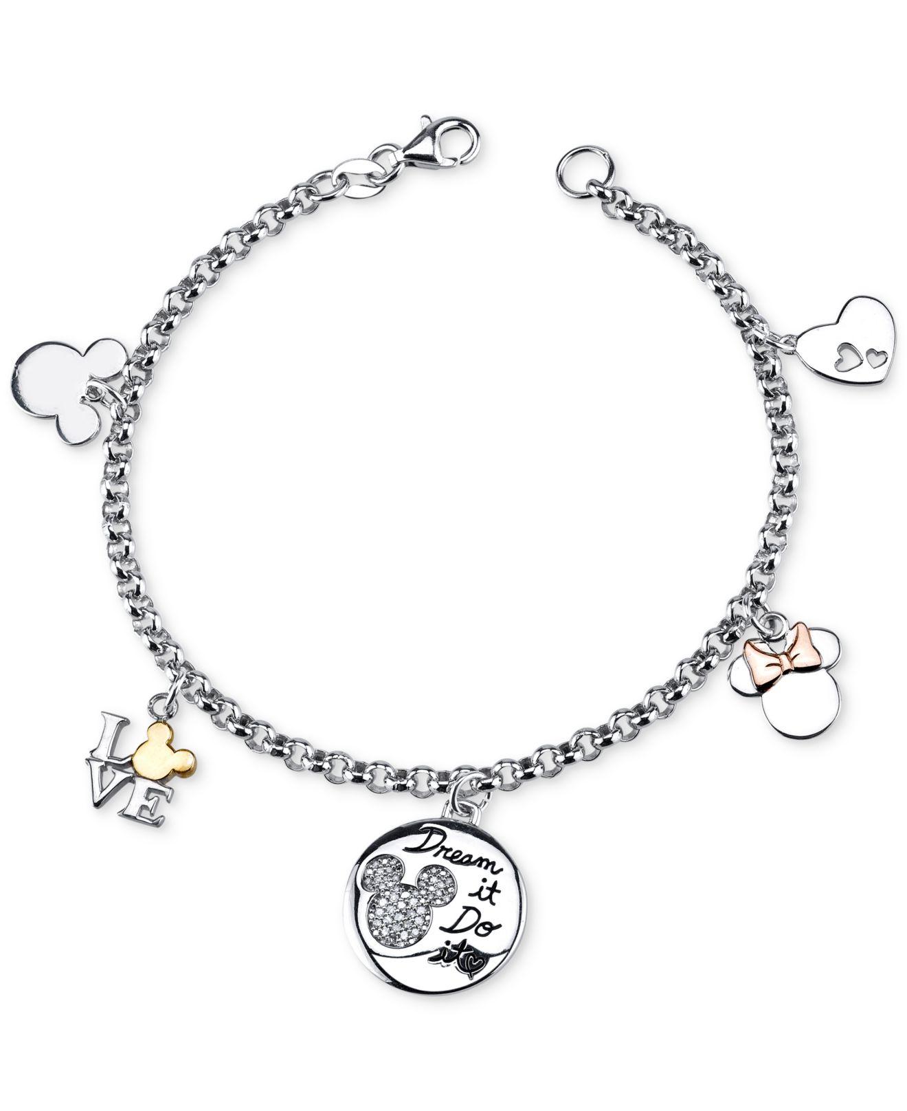 Mickey Mouse Charm Bracelet: Disney Diamond Mickey Mouse Charm Bracelet (1/10 Ct. T.w