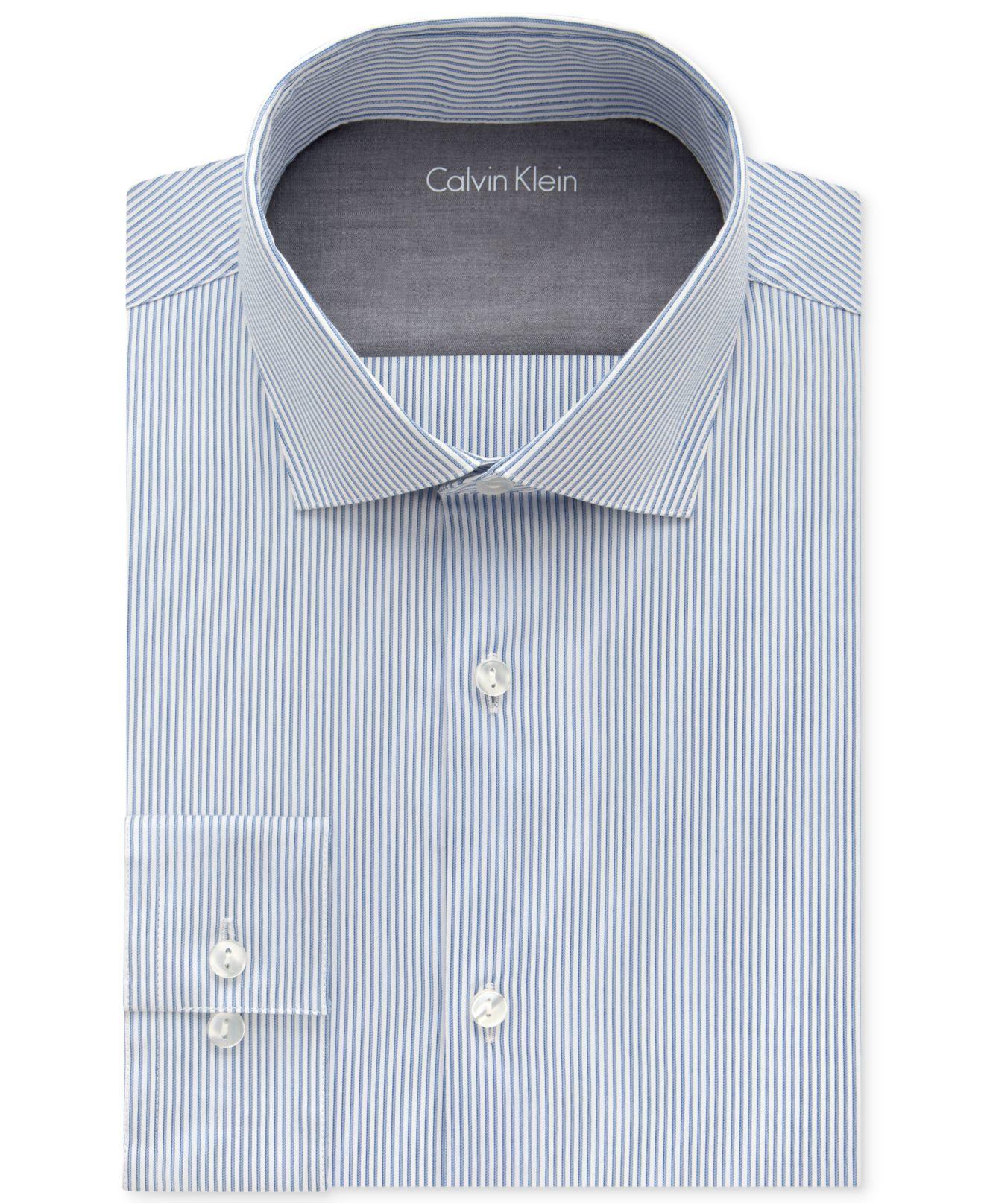 Calvin klein men 39 s x extra slim fit empire blue striped for Calvin klein x fit dress shirt