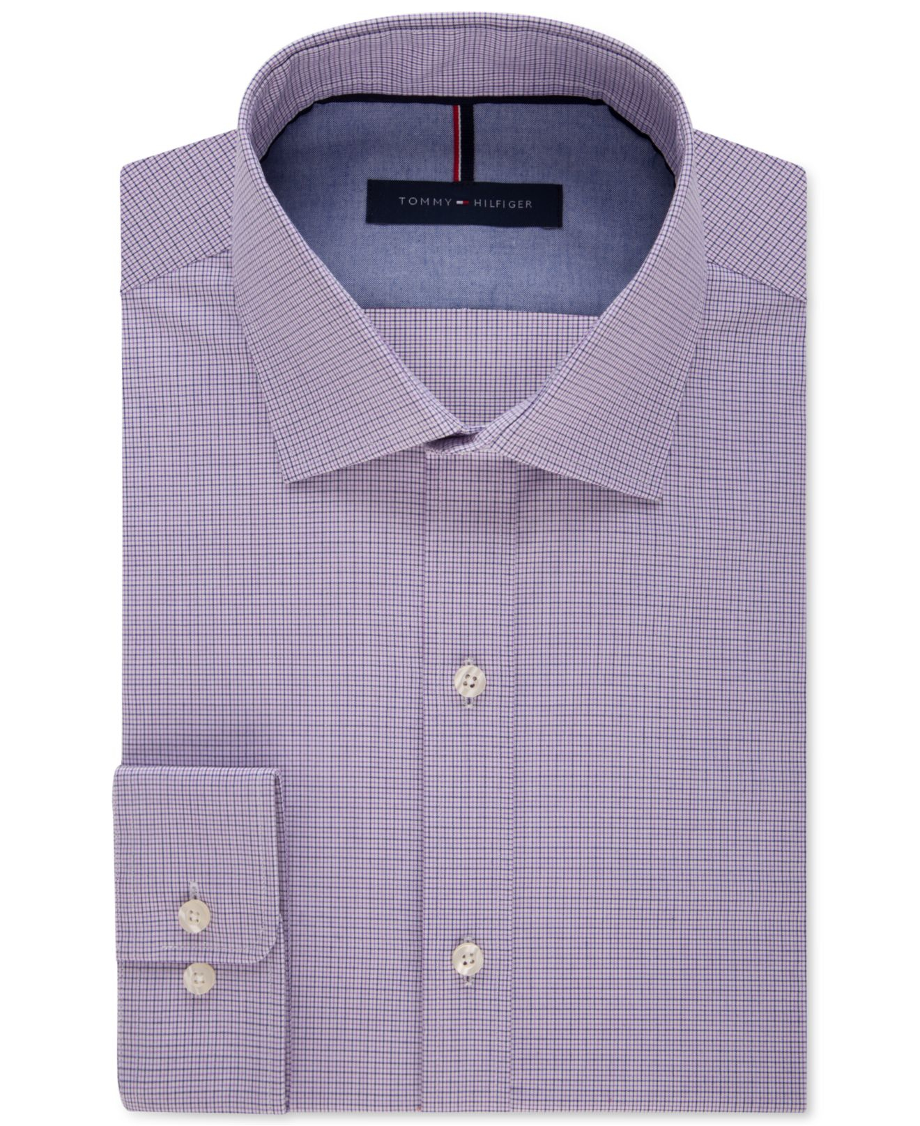 Tommy hilfiger men 39 s slim fit non iron check dress shirt for Slim fit non iron dress shirts