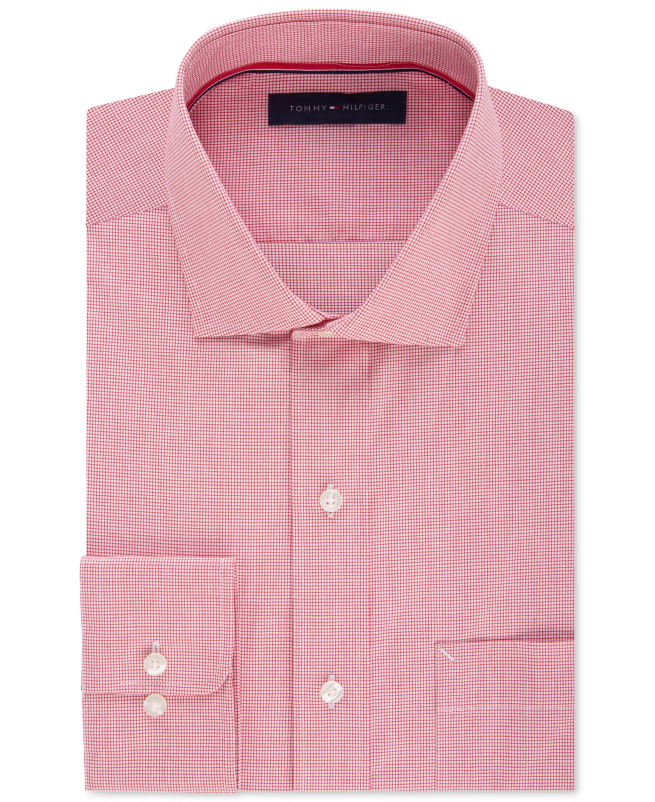 Tommy hilfiger men 39 s classic fit non iron cayenne gingham for Tommy hilfiger vintage fit shirt