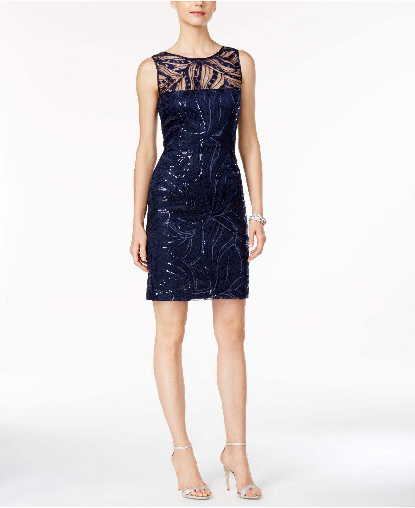 Macys Navy Blue Dresses: Tahari Sequined Illusion Sheath Dress In Blue (Navy)