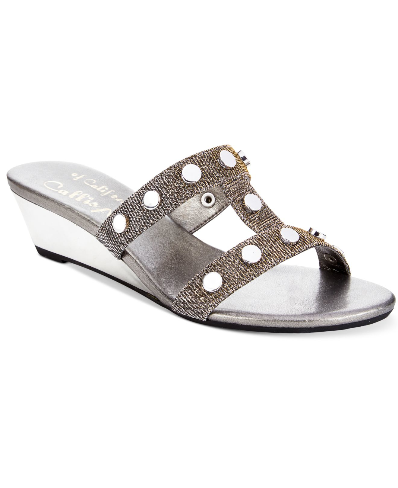 Callisto Thelma Wedge Sandals In Silver