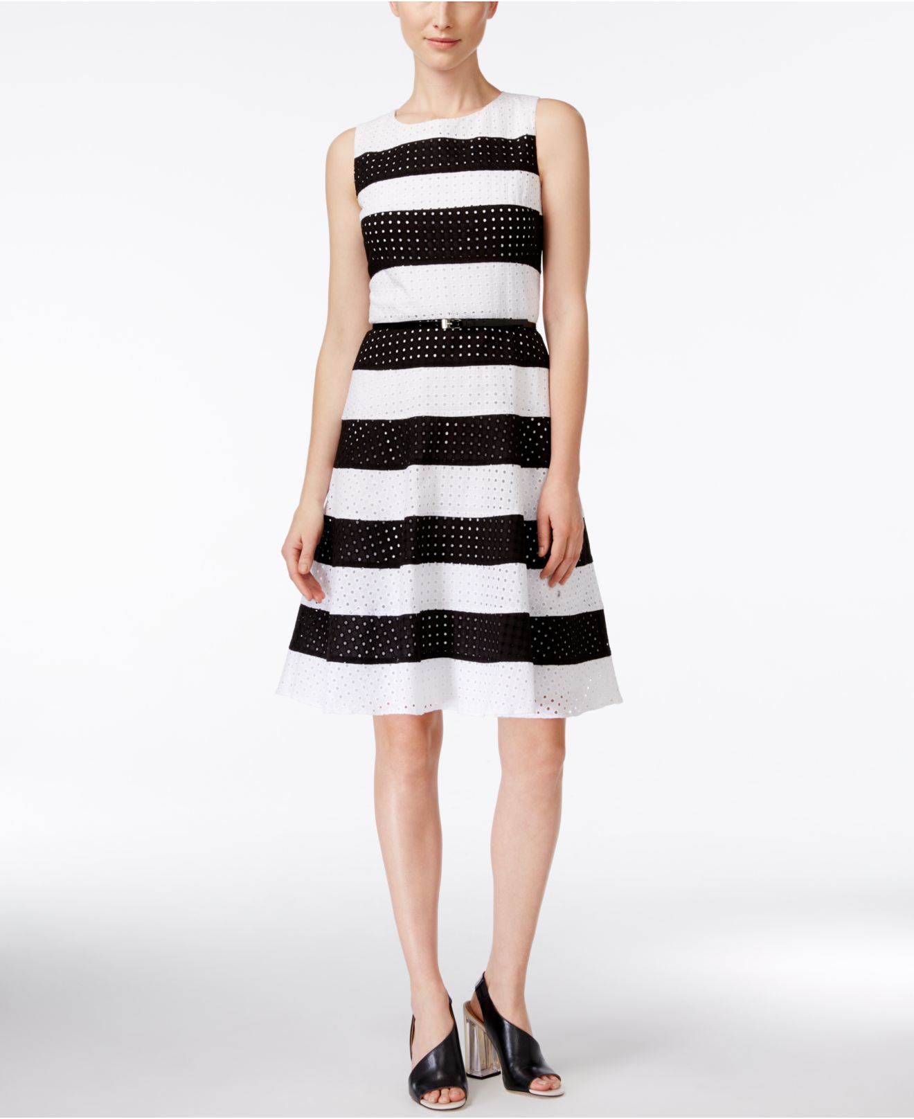 calvin klein striped belted fit flare dress in black
