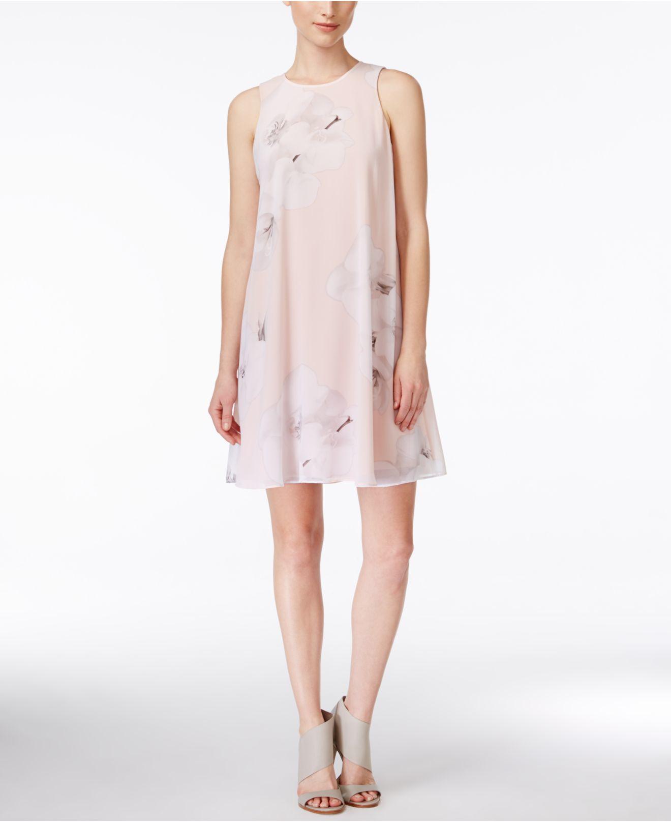 Calvin Klein Sleeveless Floral Print Sheath Dress In