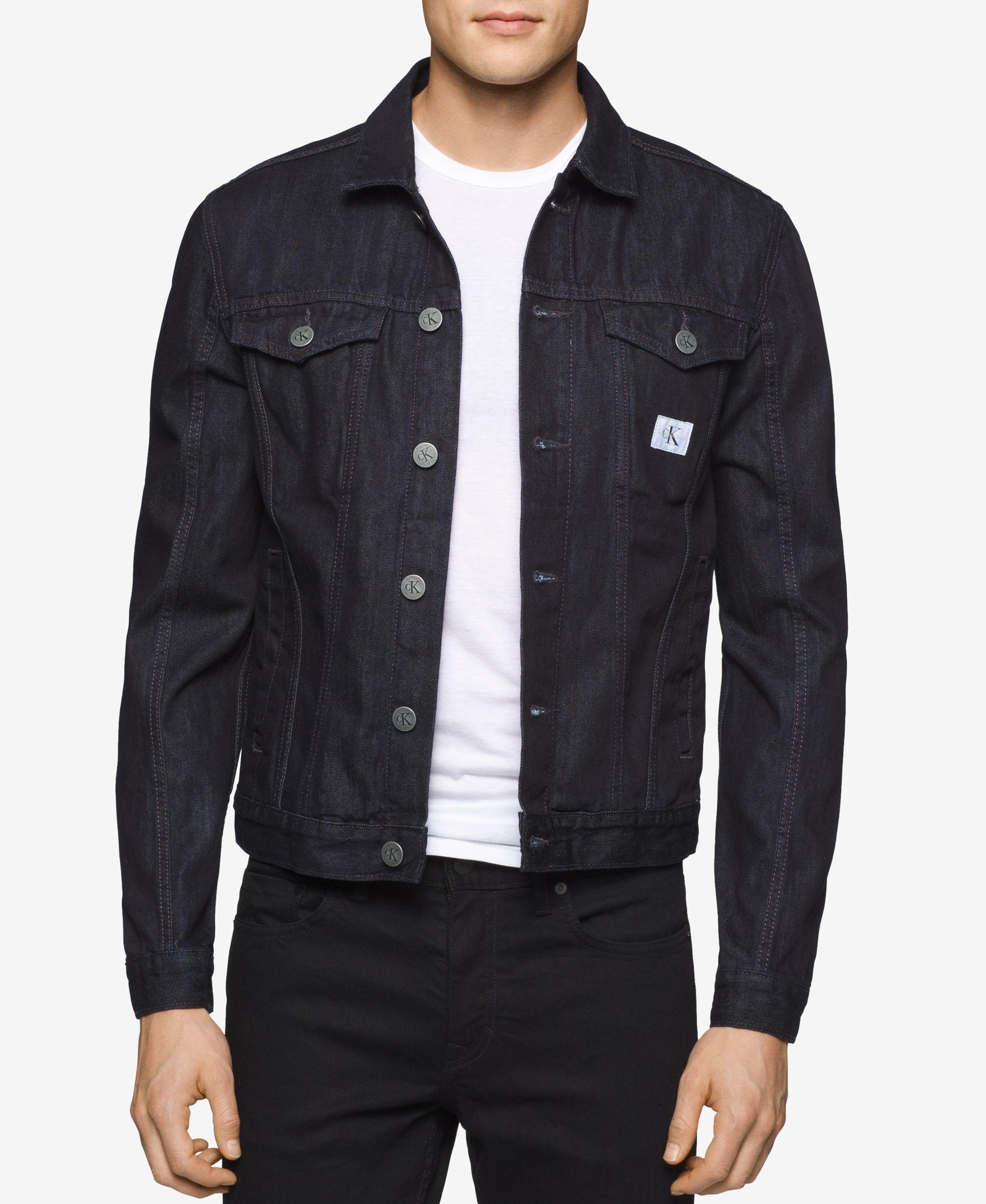 Calvin klein jeans Menu0026#39;s Rinse-wash Denim Trucker Jacket in Black for Men | Lyst