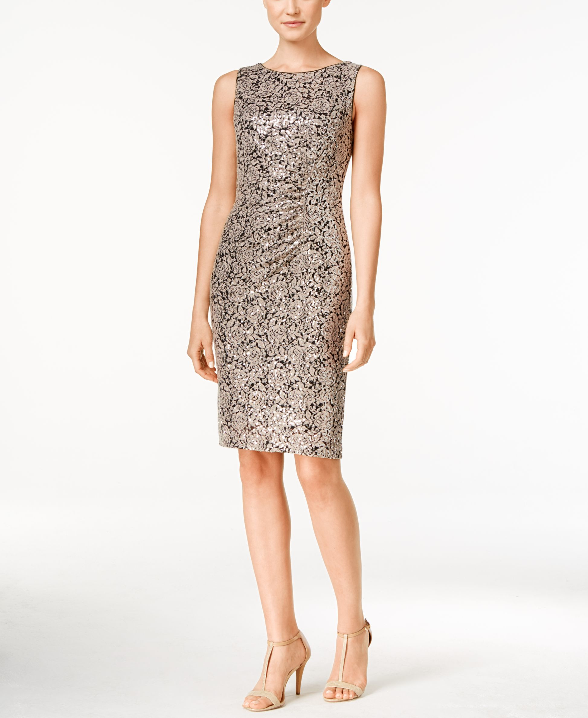 Lyst Calvin Klein Petite Lace Ruched Sheath Dress In Brown