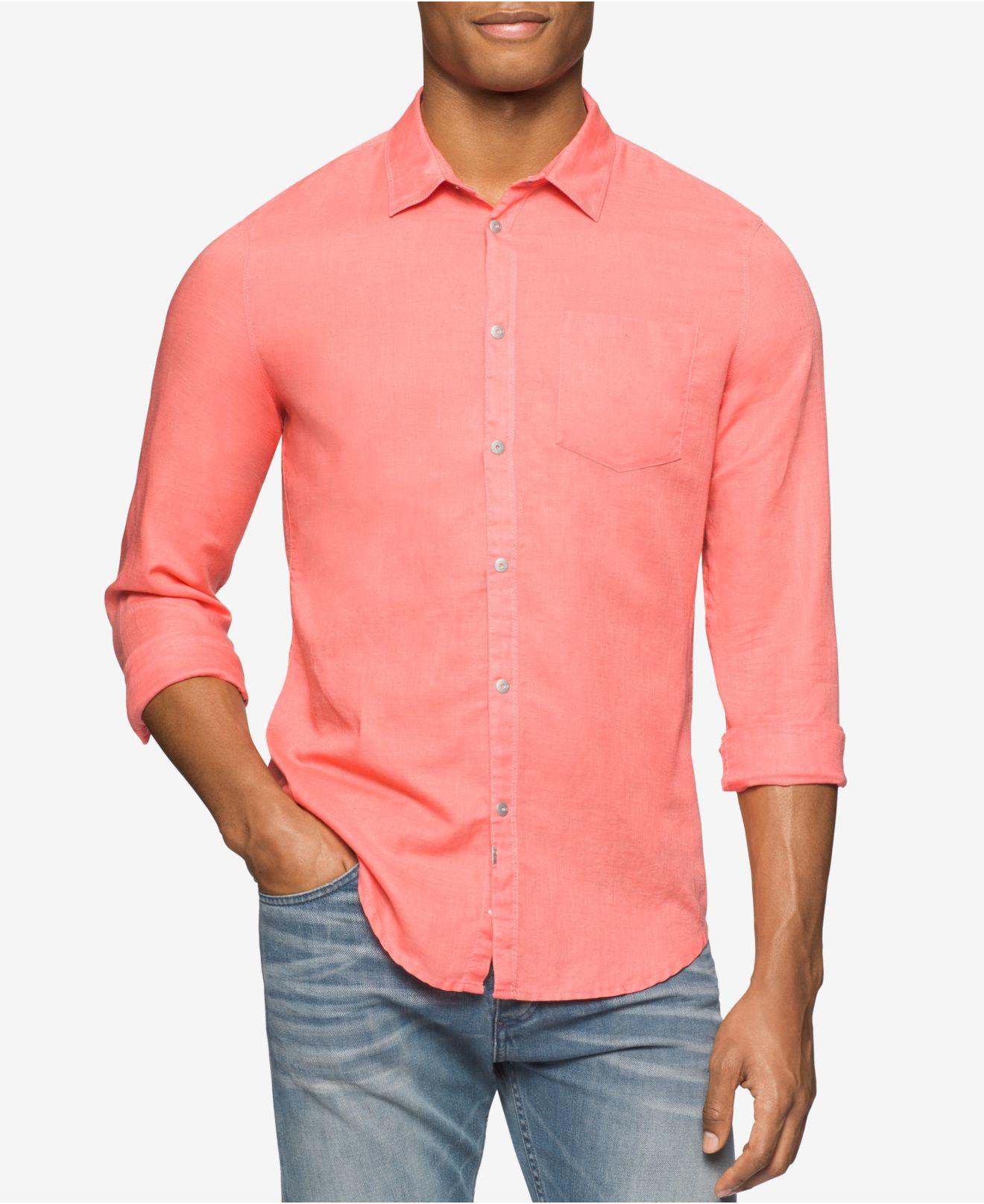 Calvin Klein Jeans Men 39 S Snap Front Long Sleeve Shirt In
