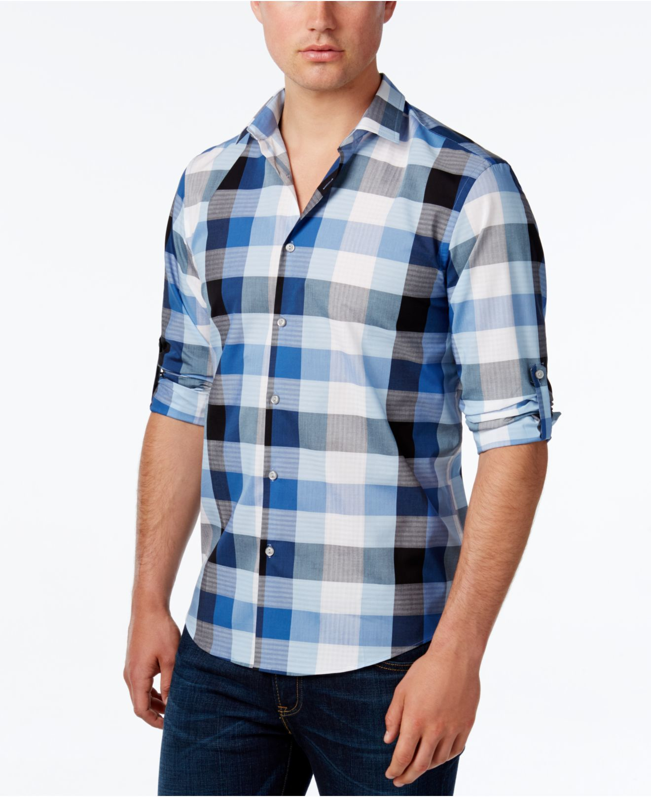 Lyst alfani men 39 s long sleeve mason twilight plaid shirt for Mason s men s shirts
