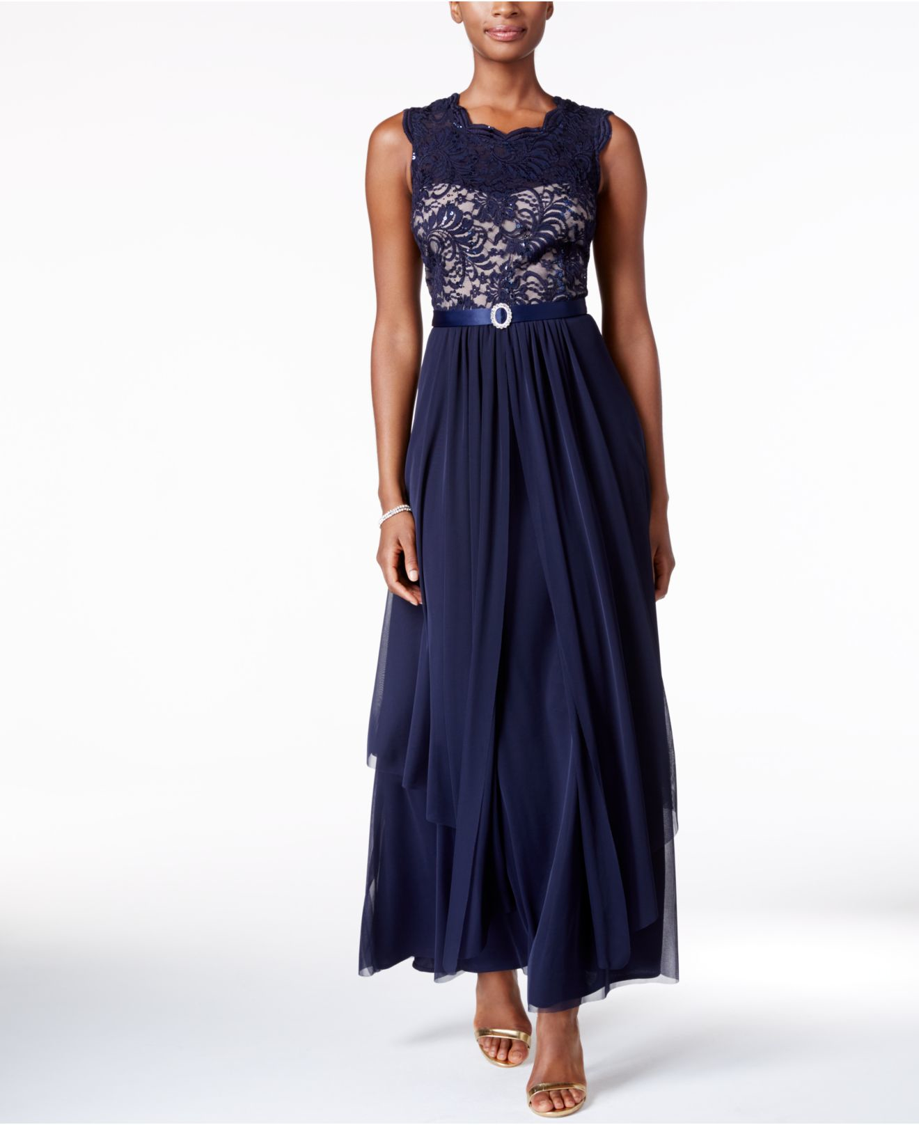 Wedding Gowns Macys: R & M Richards Sequined Lace And Chiffon Gown In Blue
