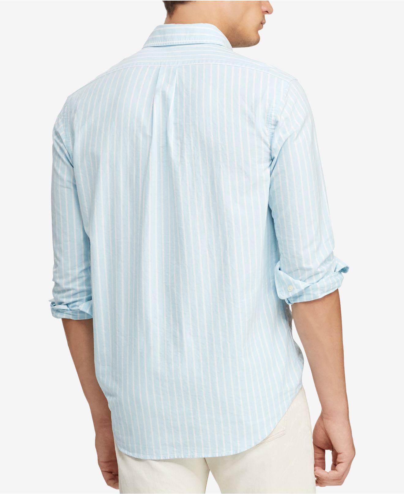 a07963e873d Lyst - Polo Ralph Lauren Classic Fit Striped Shirt in Blue for Men - Save  25%
