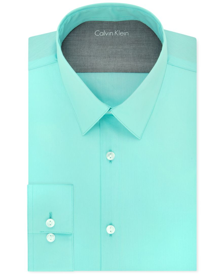 Calvin klein extra slim fit blue bay dress shirt in blue for Extra trim fit dress shirt