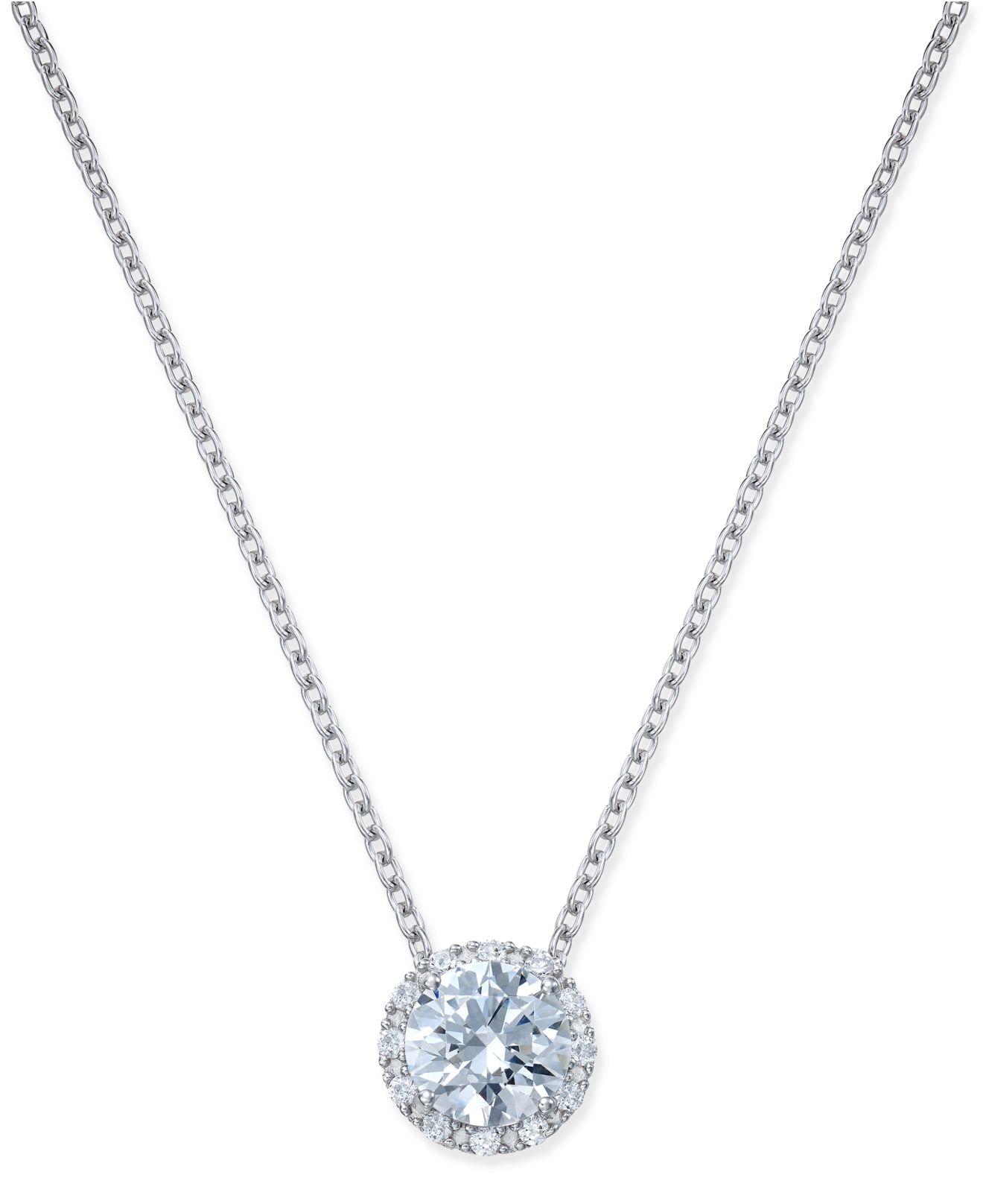 arabella swarovski zirconia halo pendant necklace in
