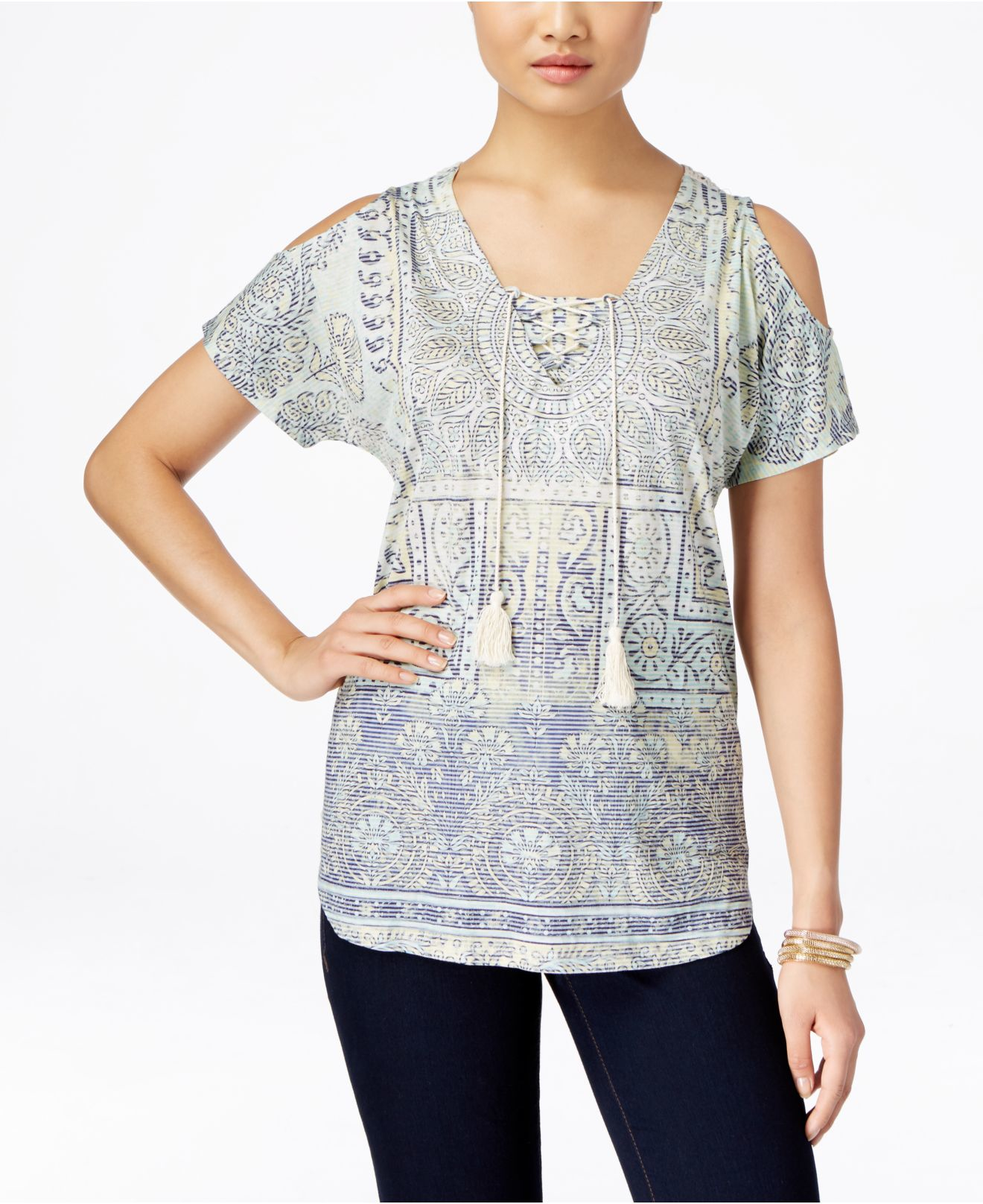 Lyst Style Co Cold Shoulder Crochet Back Top Only At Macy 39 S In White