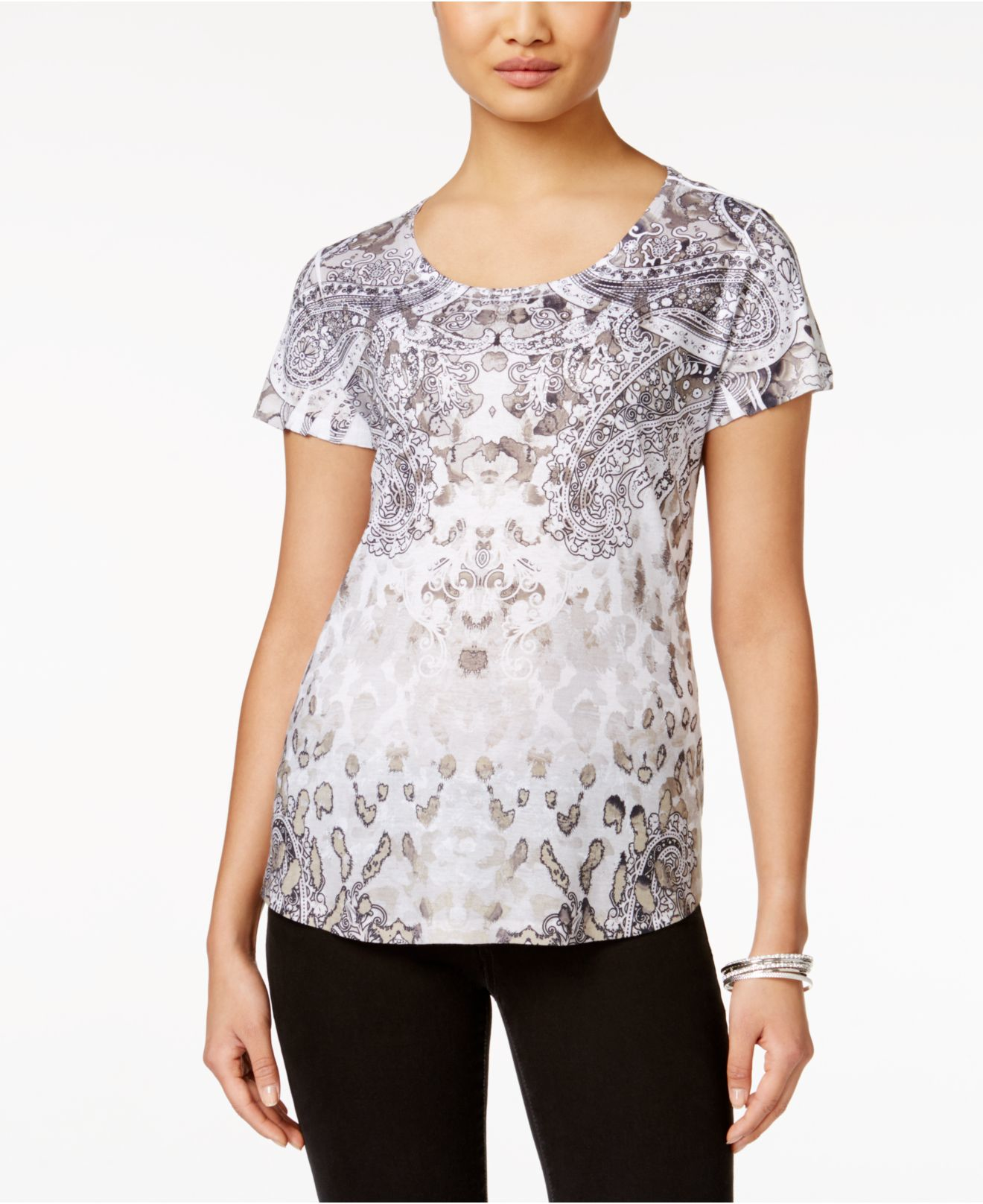 lyst style co sleeve scoop neck t shirt in gray