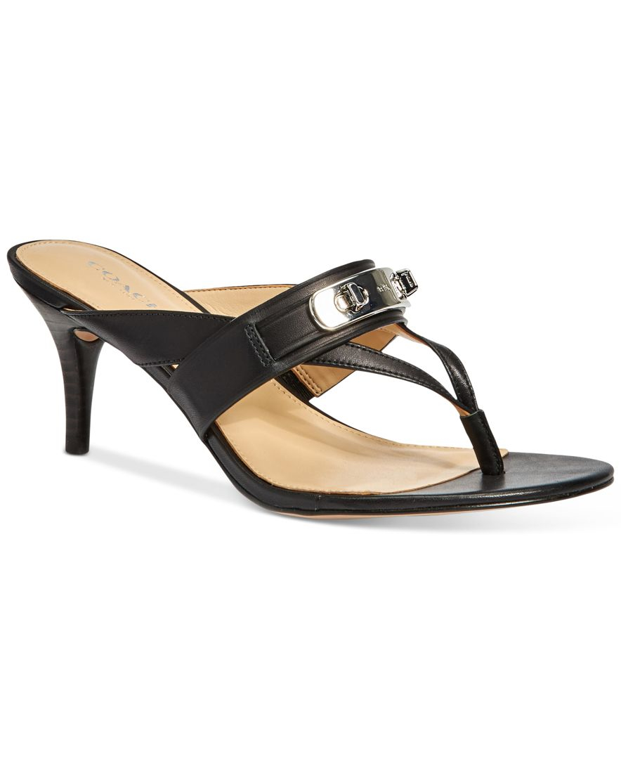 d9106d14f534 Lyst - COACH Olina Turnlock Thong Dress Sandals in Black